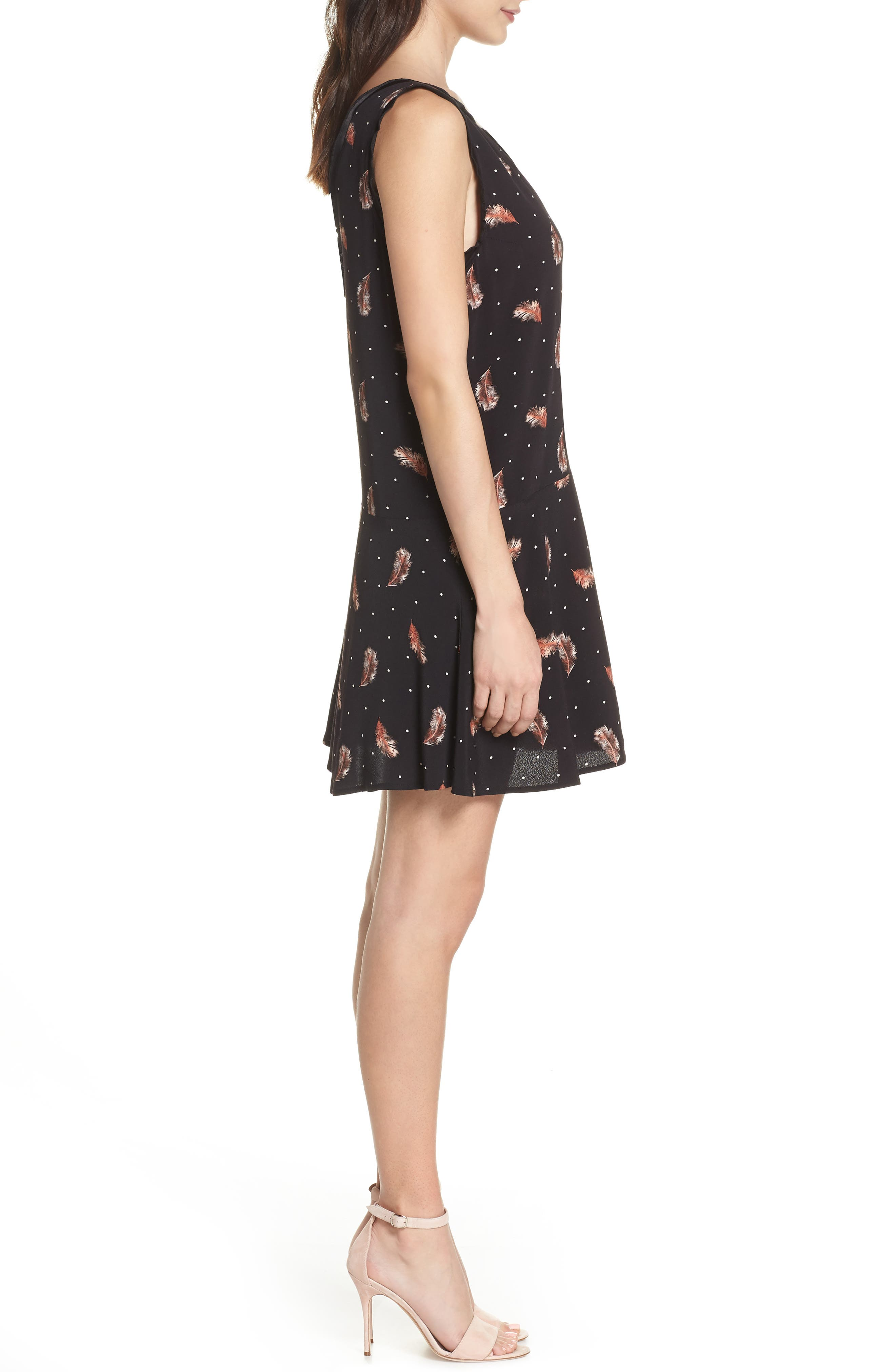 Tuesday Feather Print Dress,                             Alternate thumbnail 3, color,                             Black Feather Dot