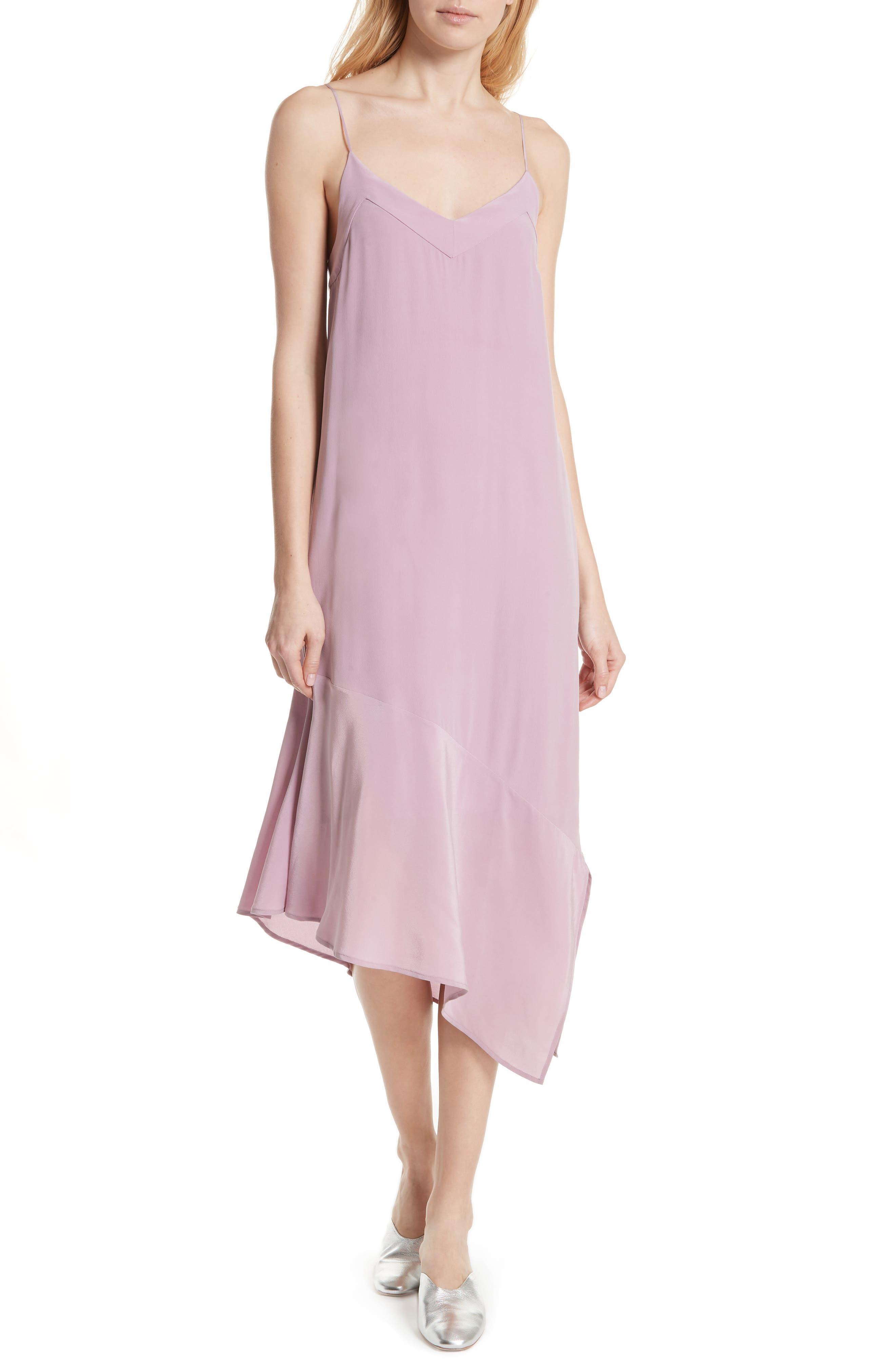 Jada Asymmetrical Silk Slip Dress,                             Main thumbnail 1, color,                             Orchid Smoke
