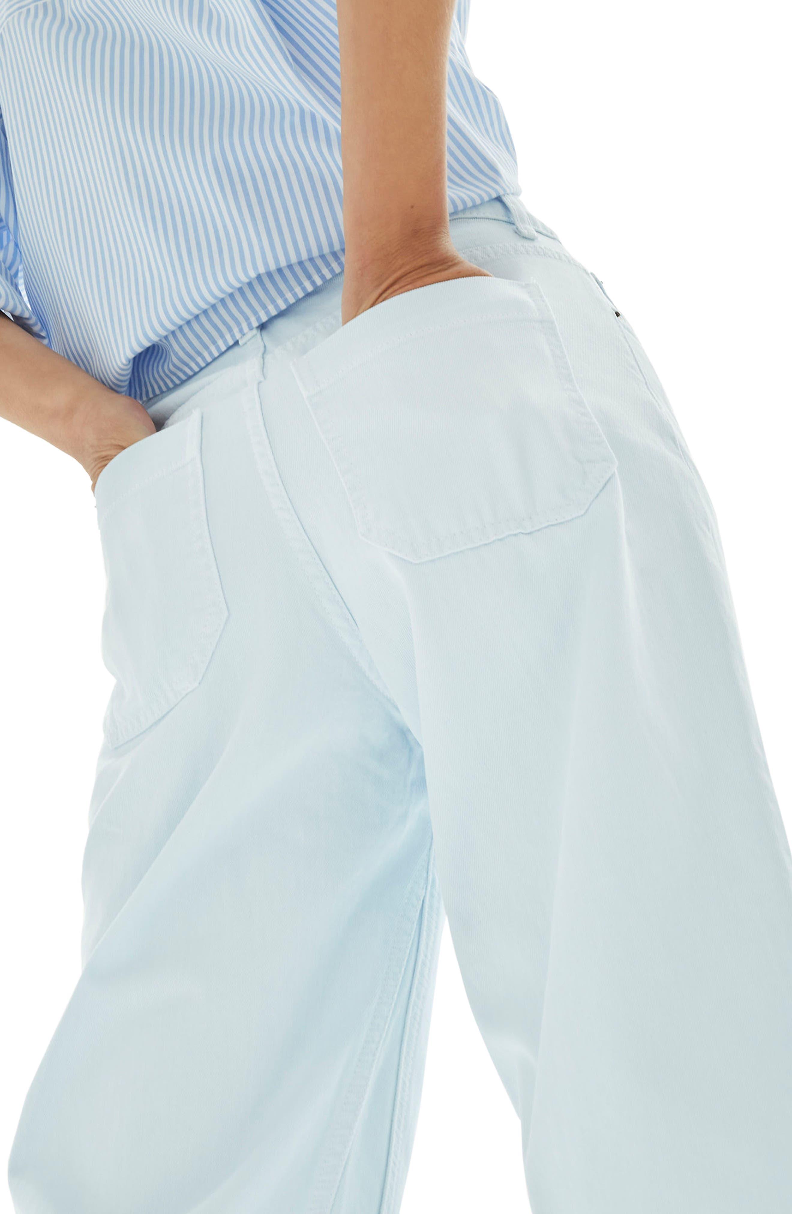 Pale Blue Crop Wide Leg Jeans,                             Alternate thumbnail 4, color,                             Light Blue