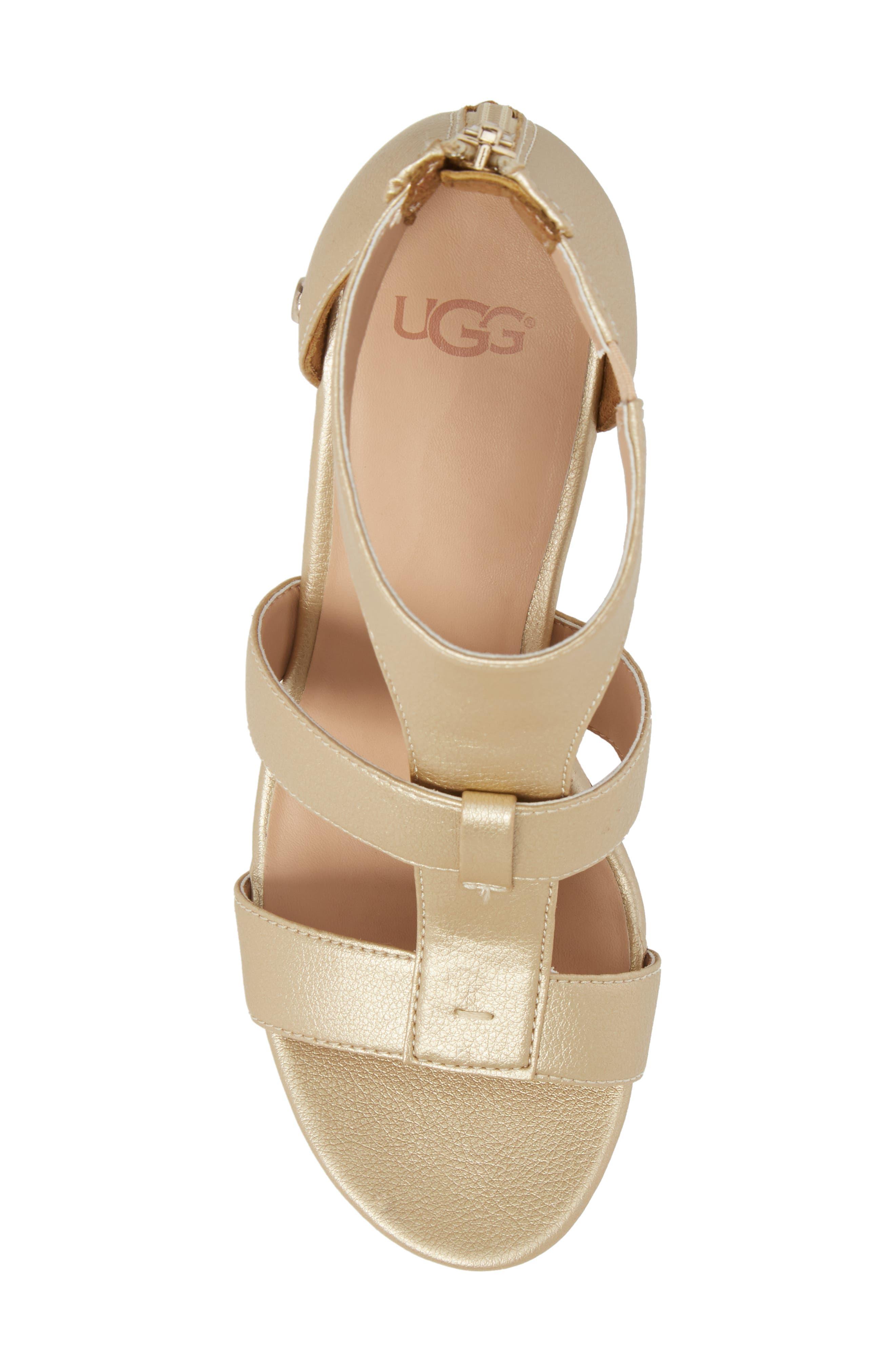 Whitney Platform Wedge Sandal,                             Alternate thumbnail 5, color,                             Gold Leather