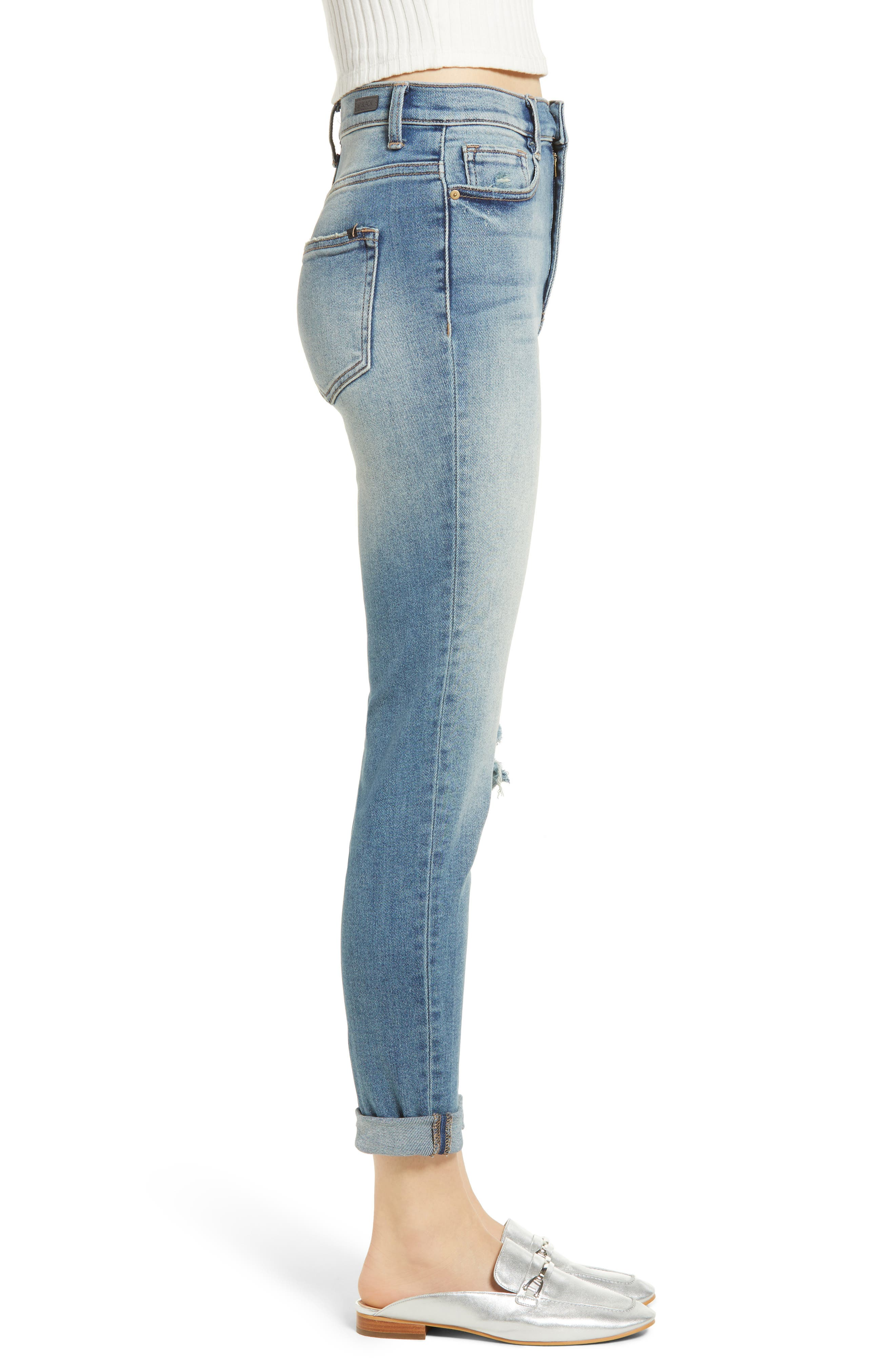 Ripped High Waist Boyfriend Jeans,                             Alternate thumbnail 3, color,                             Med Wash