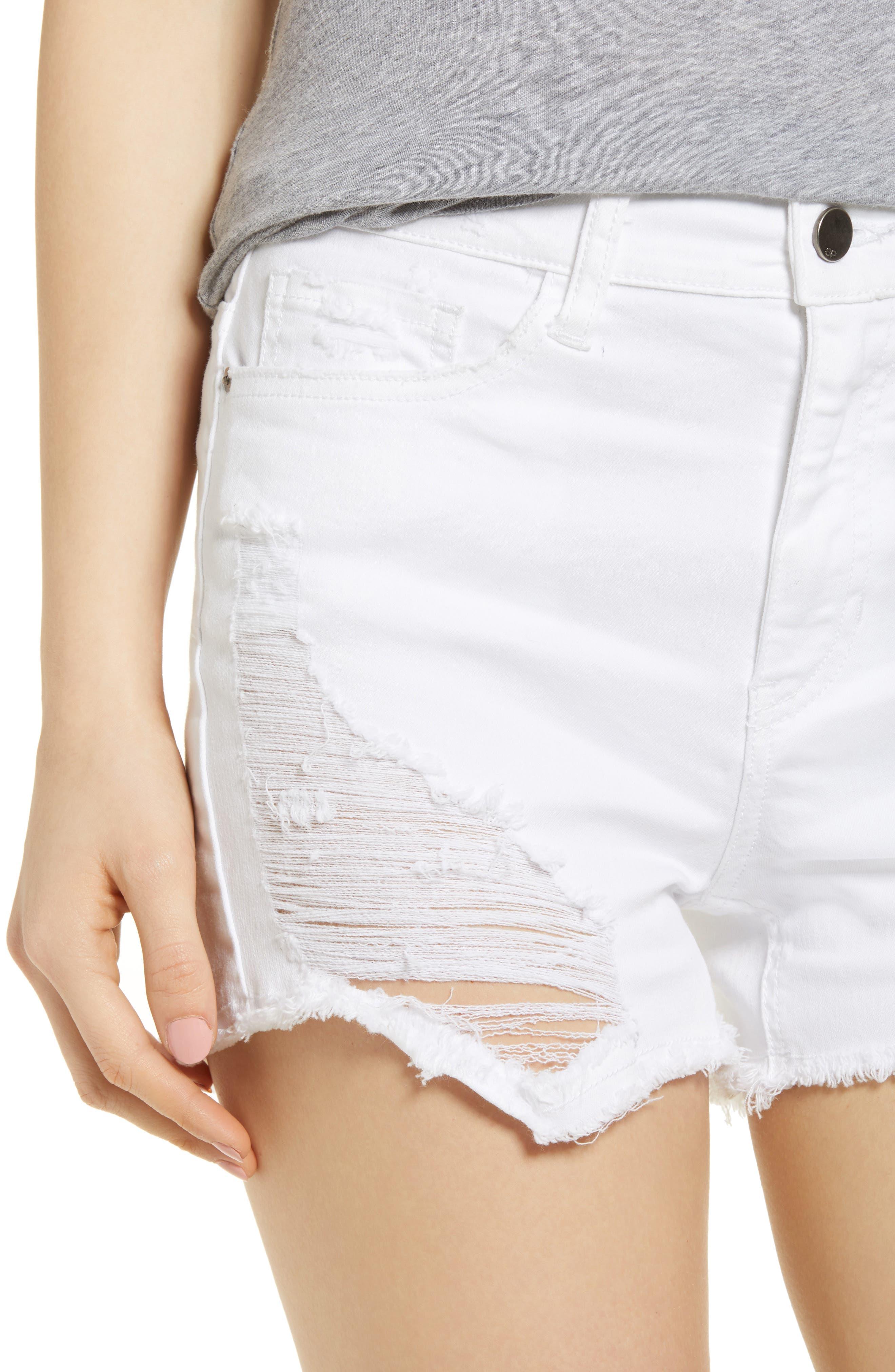 Ripped Cutoff Shorts,                             Alternate thumbnail 4, color,                             White