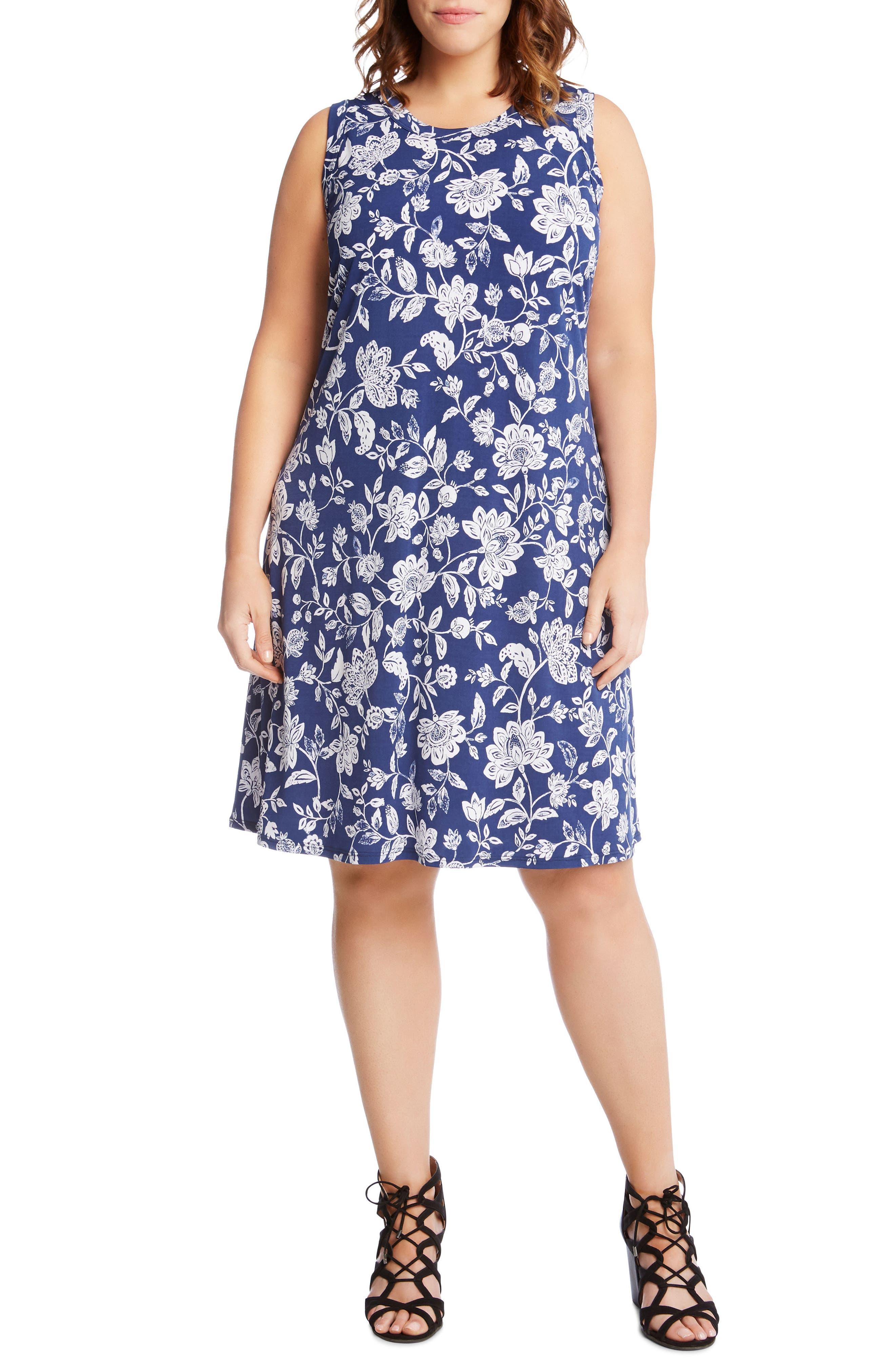 Karen Kane Floral Sleeveless Dress (Plus Size)
