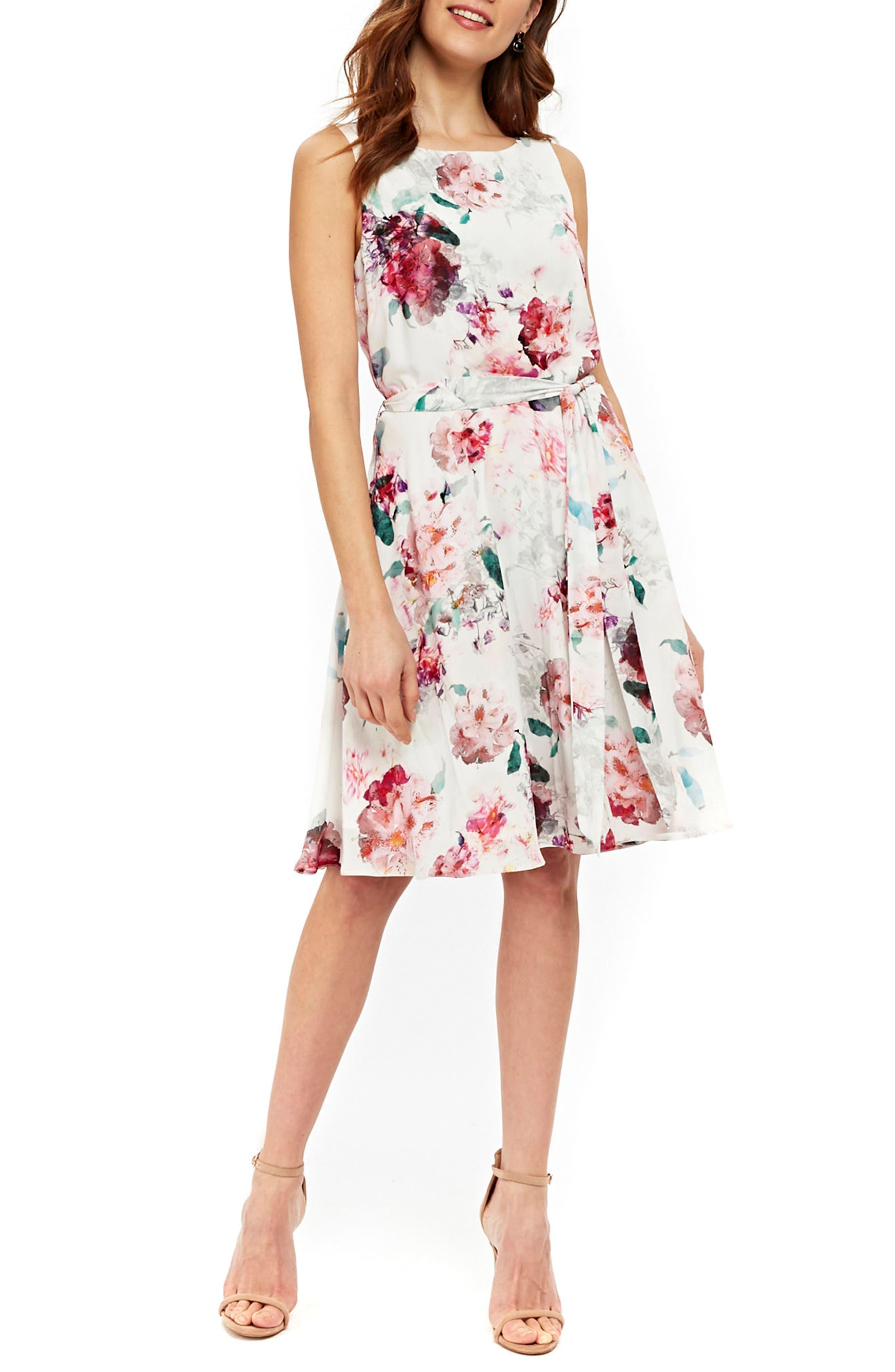 Pretty Bloom Fit & Flare Dress,                         Main,                         color, Cream