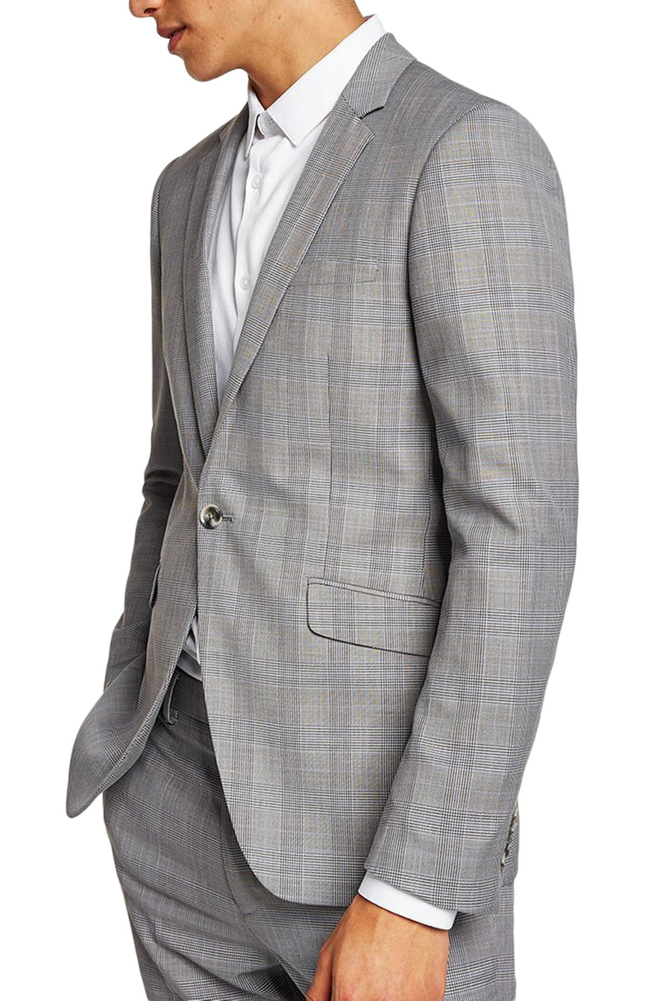 Skinny Fit Check Suit Jacket,                             Main thumbnail 1, color,                             Grey Multi