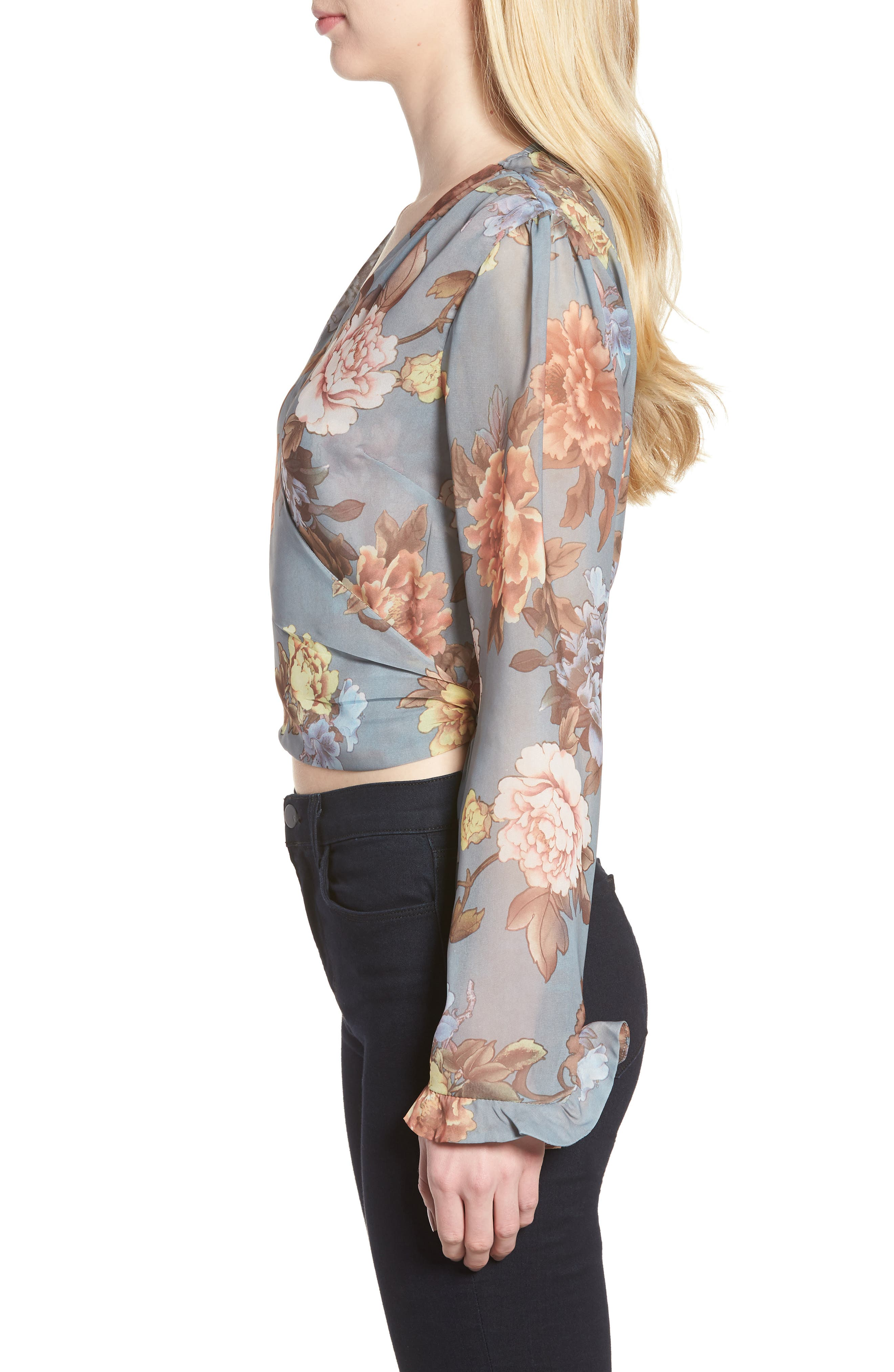 Ruffle Sleeve Wrap Blouse,                             Alternate thumbnail 3, color,                             Grey Floral