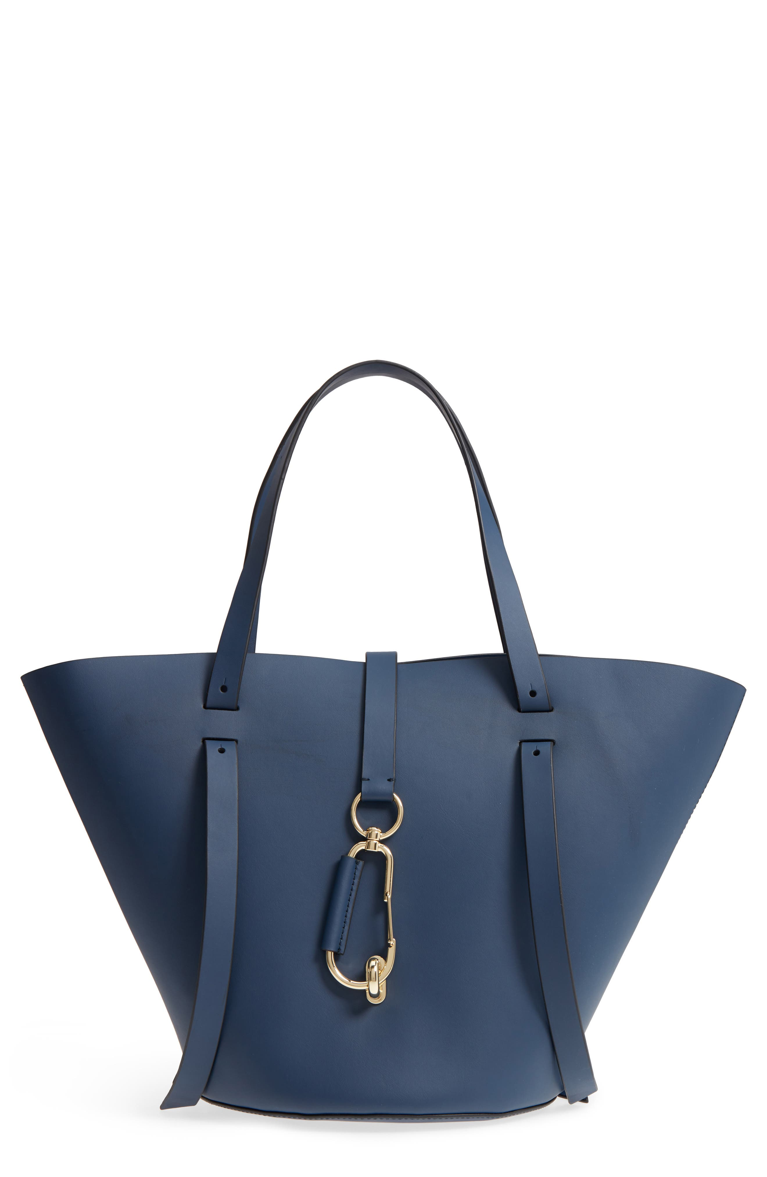Belay Leather Crossbody Tote,                         Main,                         color, Blue