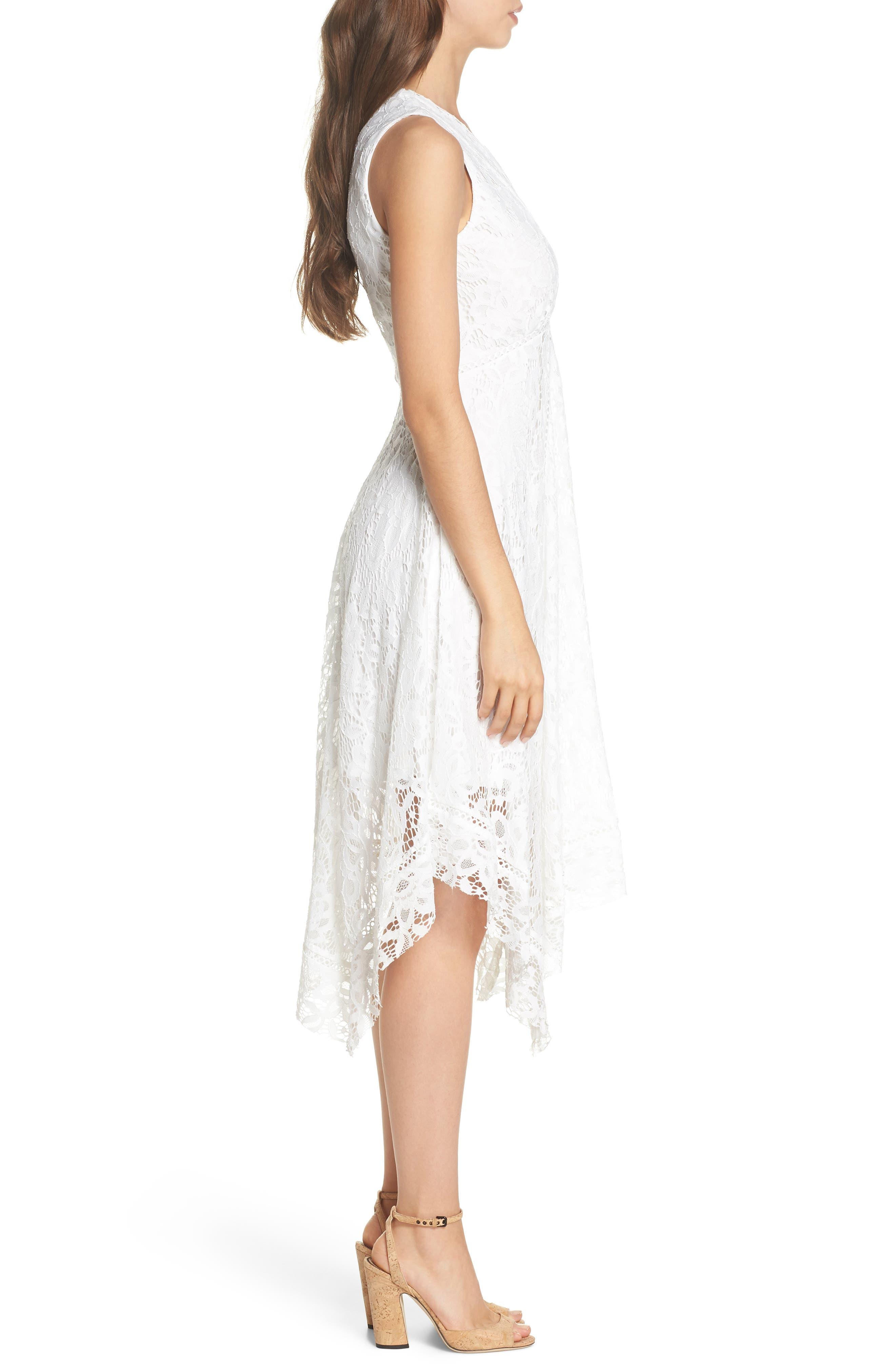 Lace Midi Dress,                             Alternate thumbnail 3, color,                             Ivory