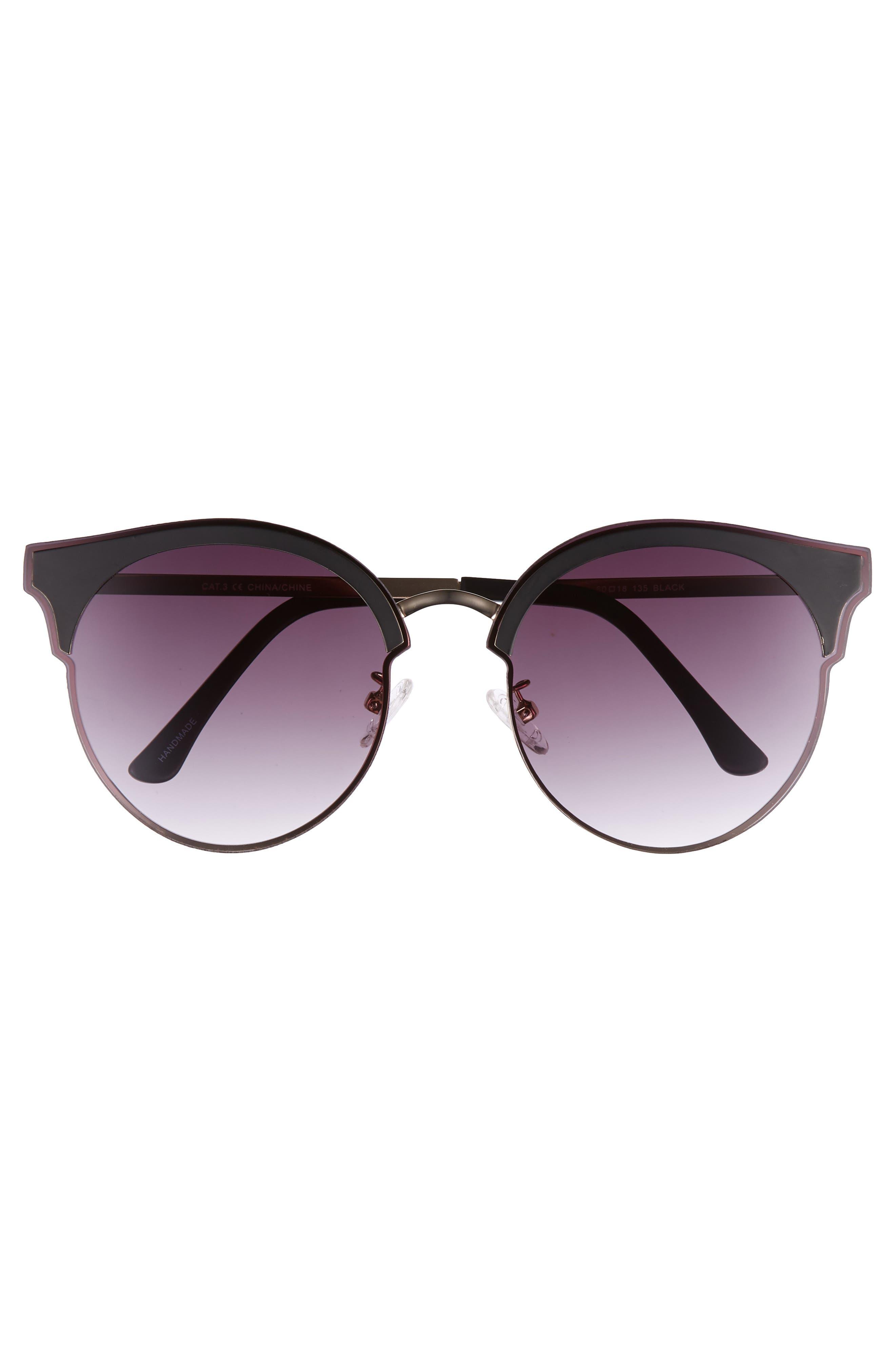 Mia 60mm Sunglasses,                             Alternate thumbnail 3, color,                             Matte Black