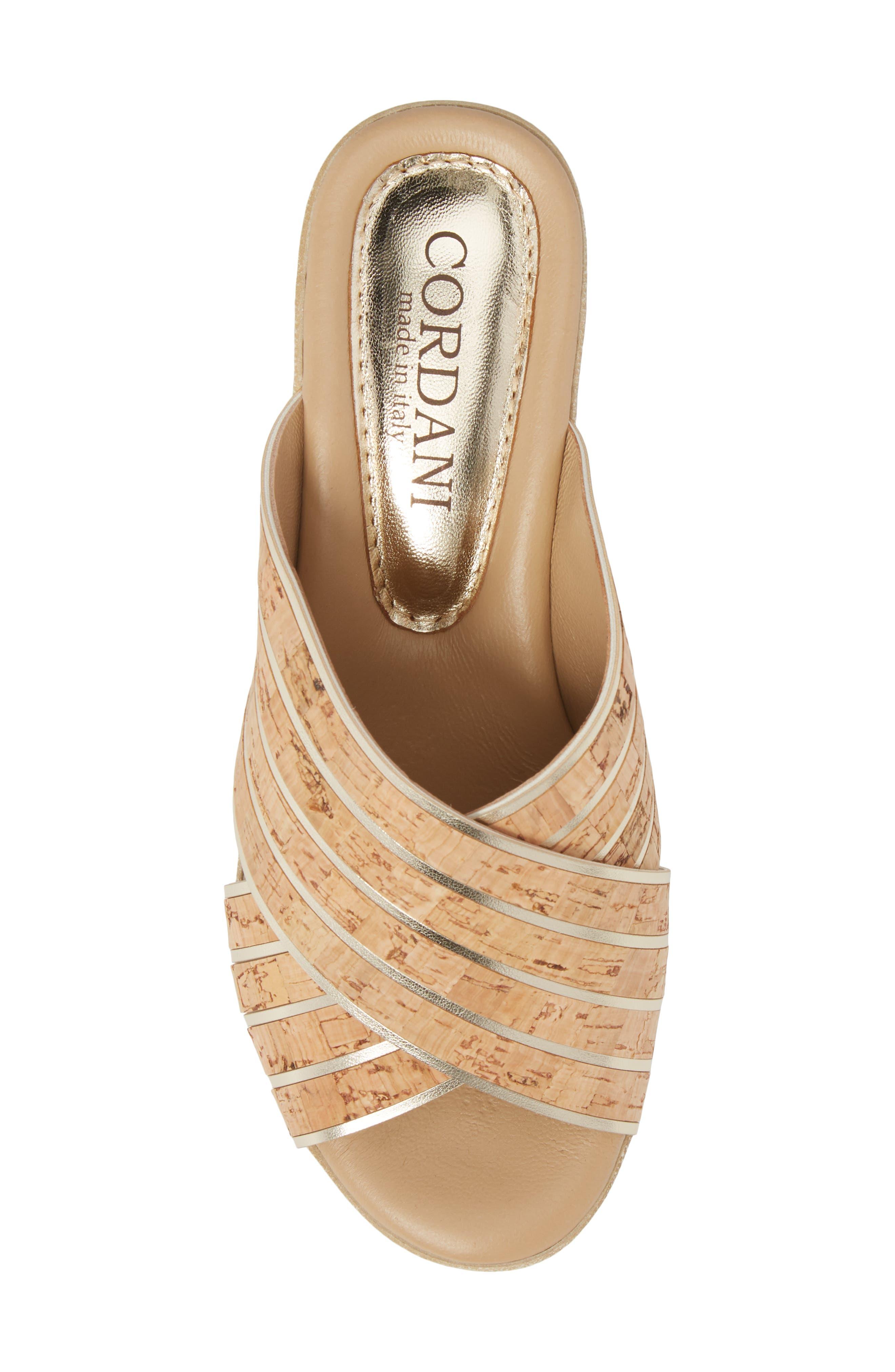 Jacey Platform Wedge Slide Sandal,                             Alternate thumbnail 5, color,                             Cork/ Gold