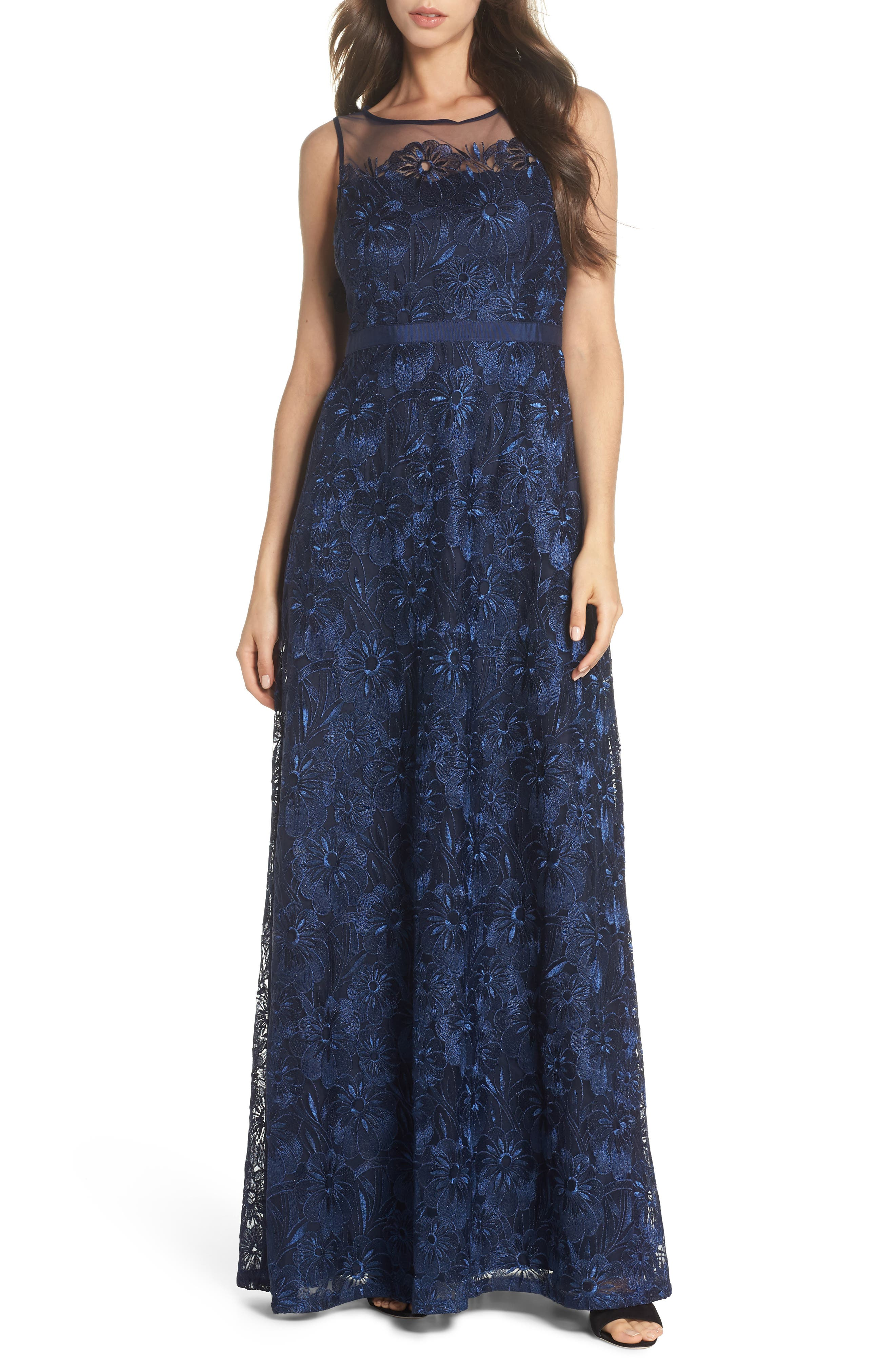 Flower Embroidered Gown,                             Main thumbnail 1, color,                             Midnight
