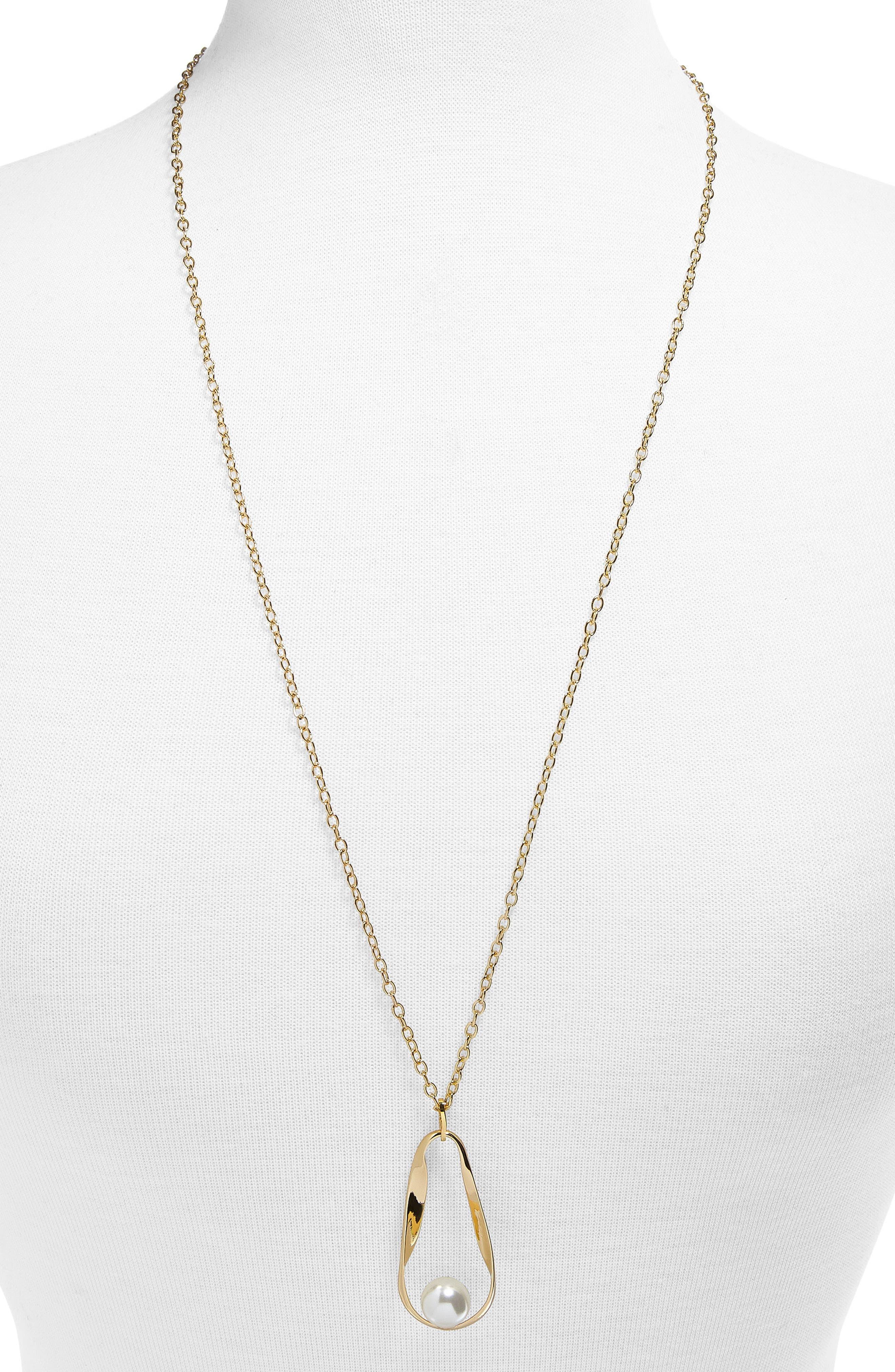 Stasia Imitation Pearl Pendant Necklace,                         Main,                         color, Pearl