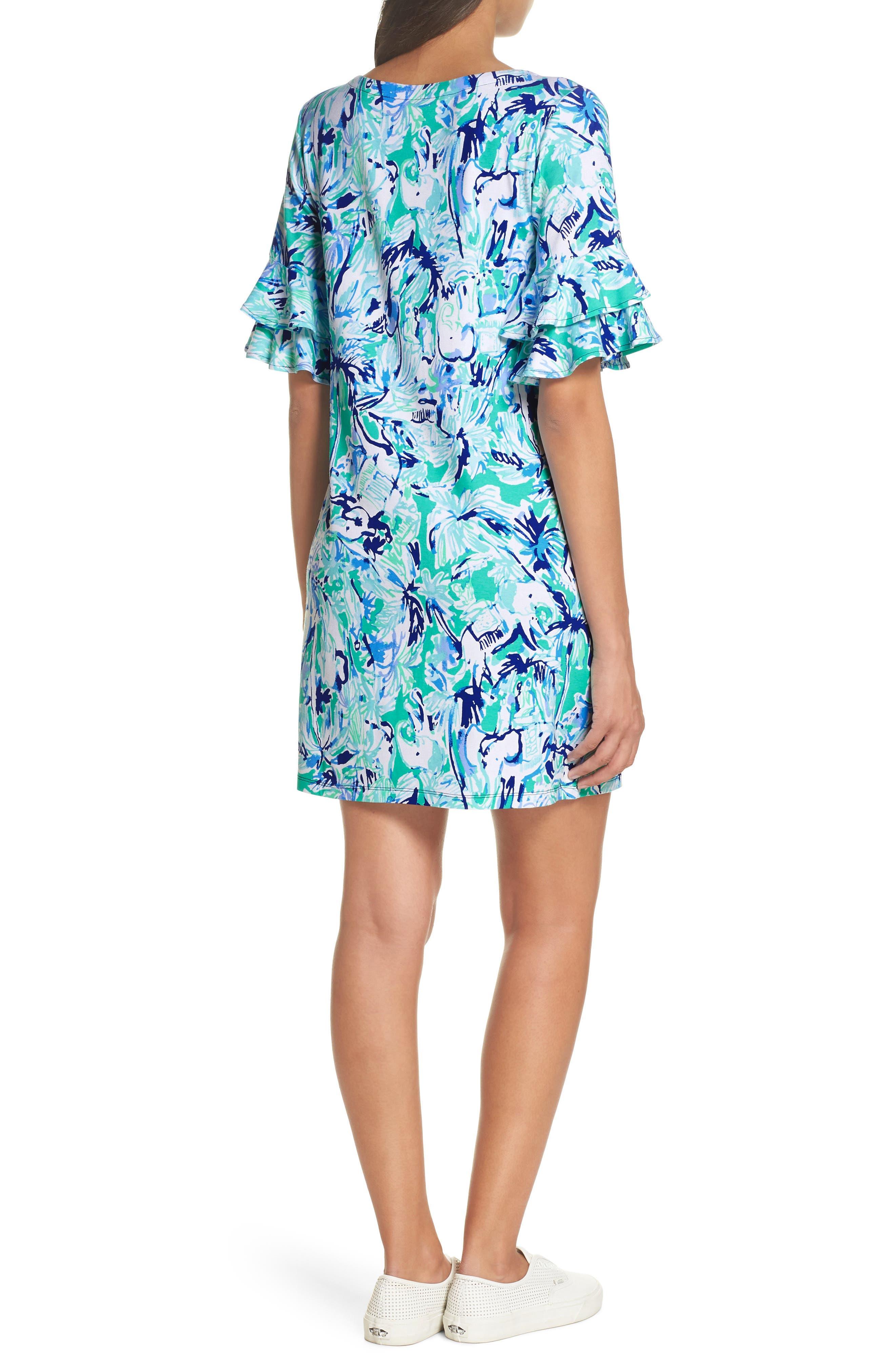 Lula Ruffle Sleeve Dress,                             Alternate thumbnail 2, color,                             Tropical Turquoise Elephant