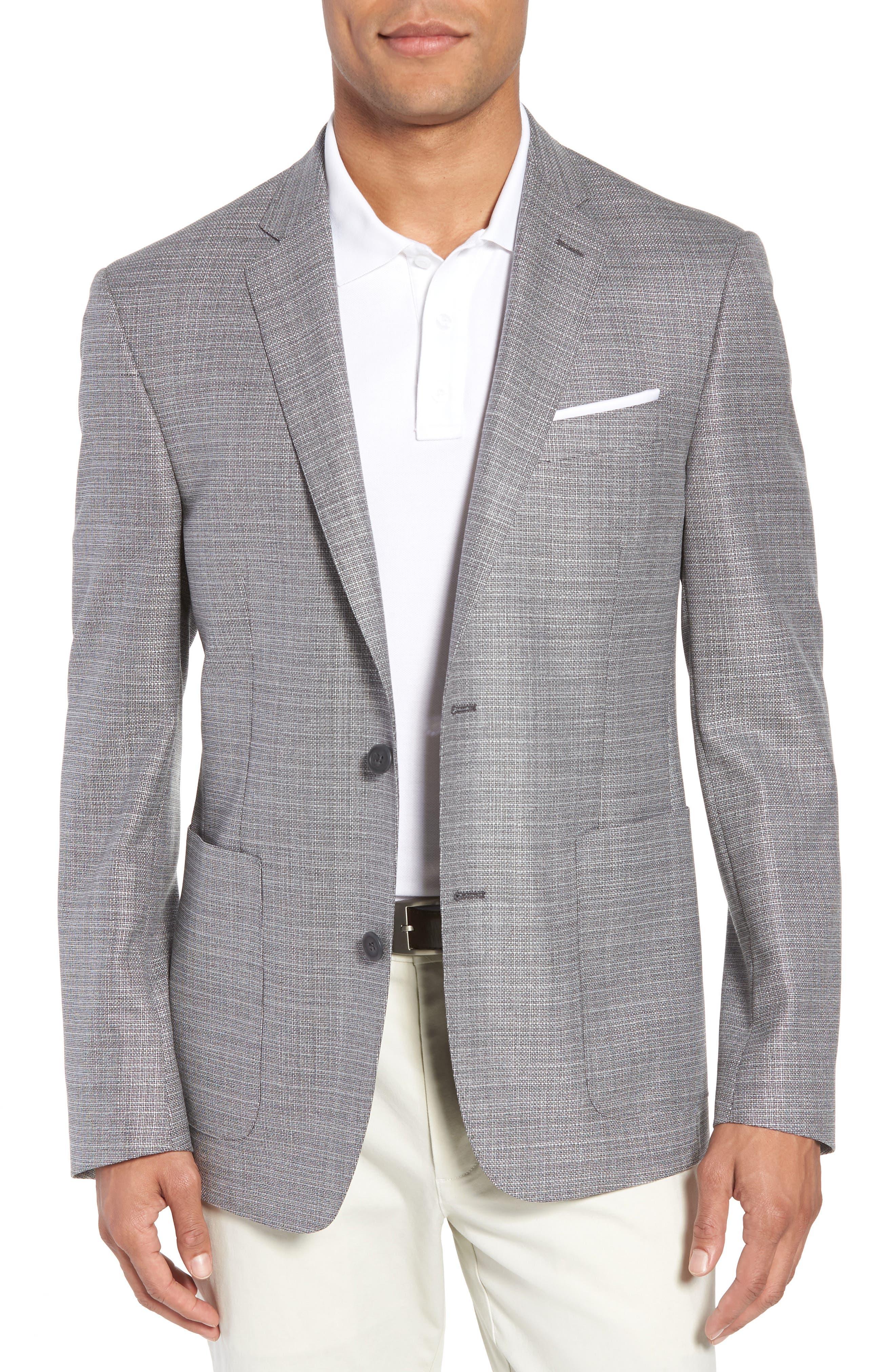 Trim Fit Wool Blazer,                         Main,                         color, Silver
