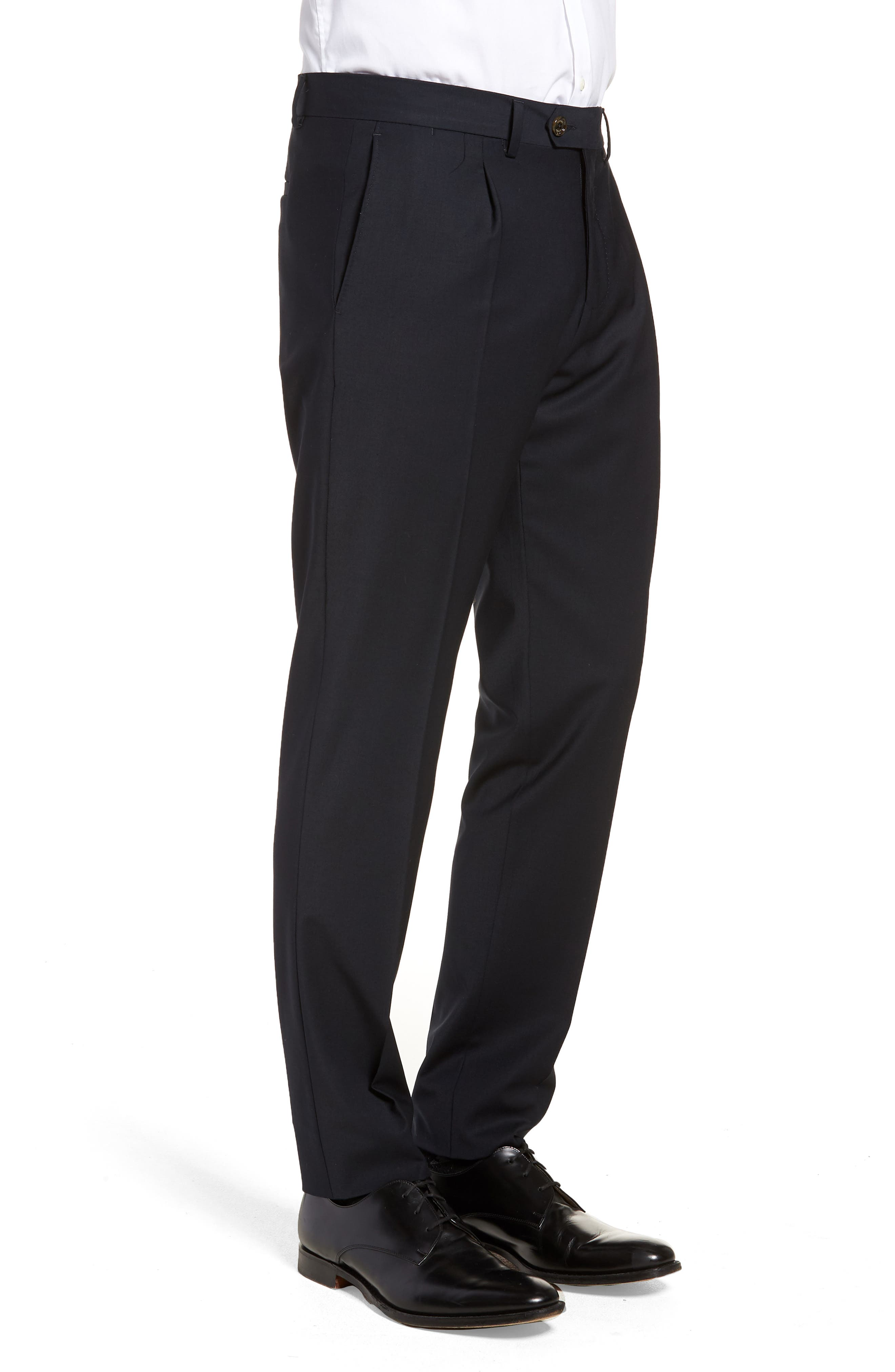 Alternate Image 3  - Eleventy Pleat Front Stretch Solid Wool Trousers