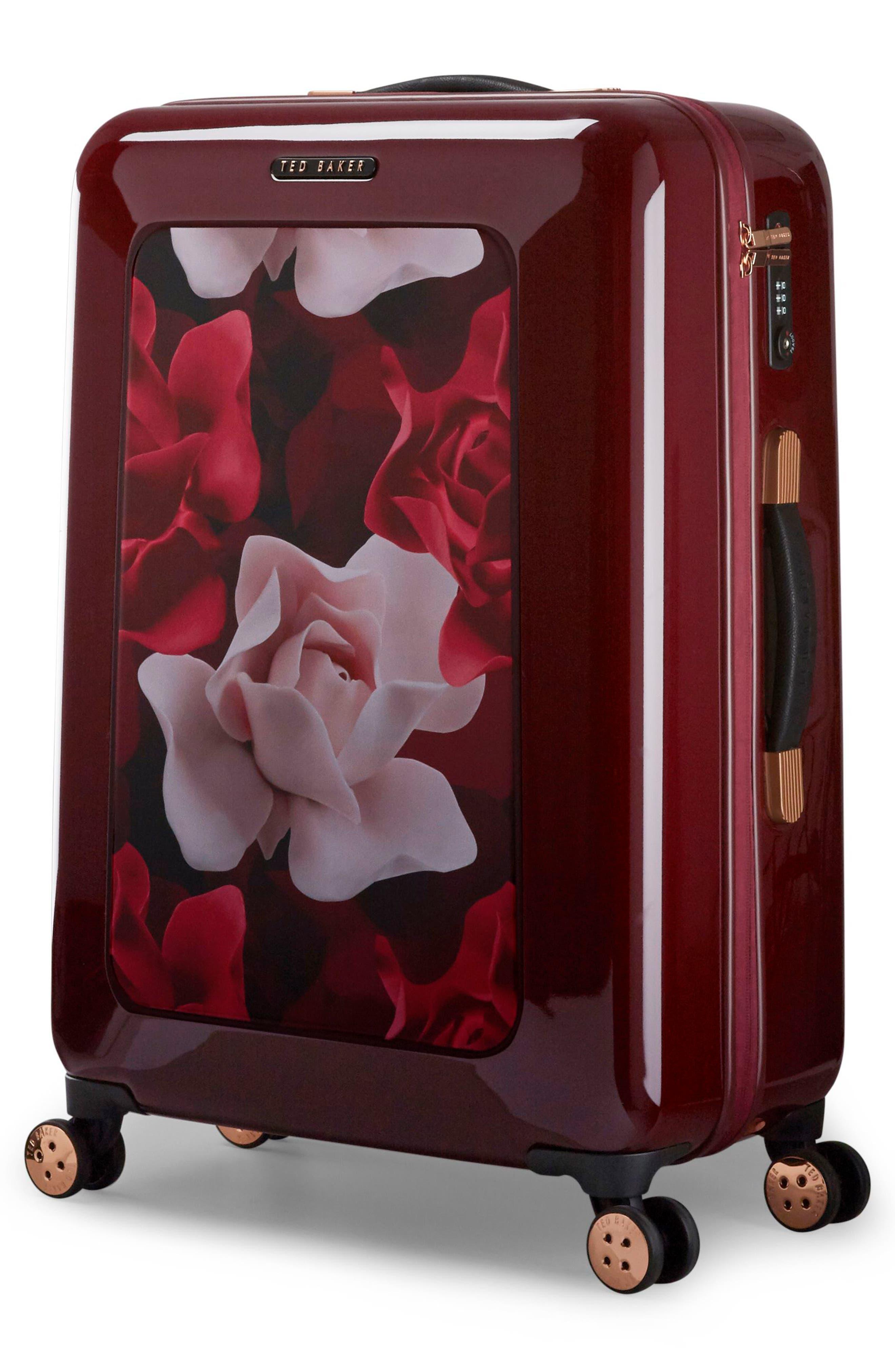 Medium Porcelain Rose 27-Inch Hard Shell Spinner Suitcase,                             Alternate thumbnail 3, color,                             Burgundy