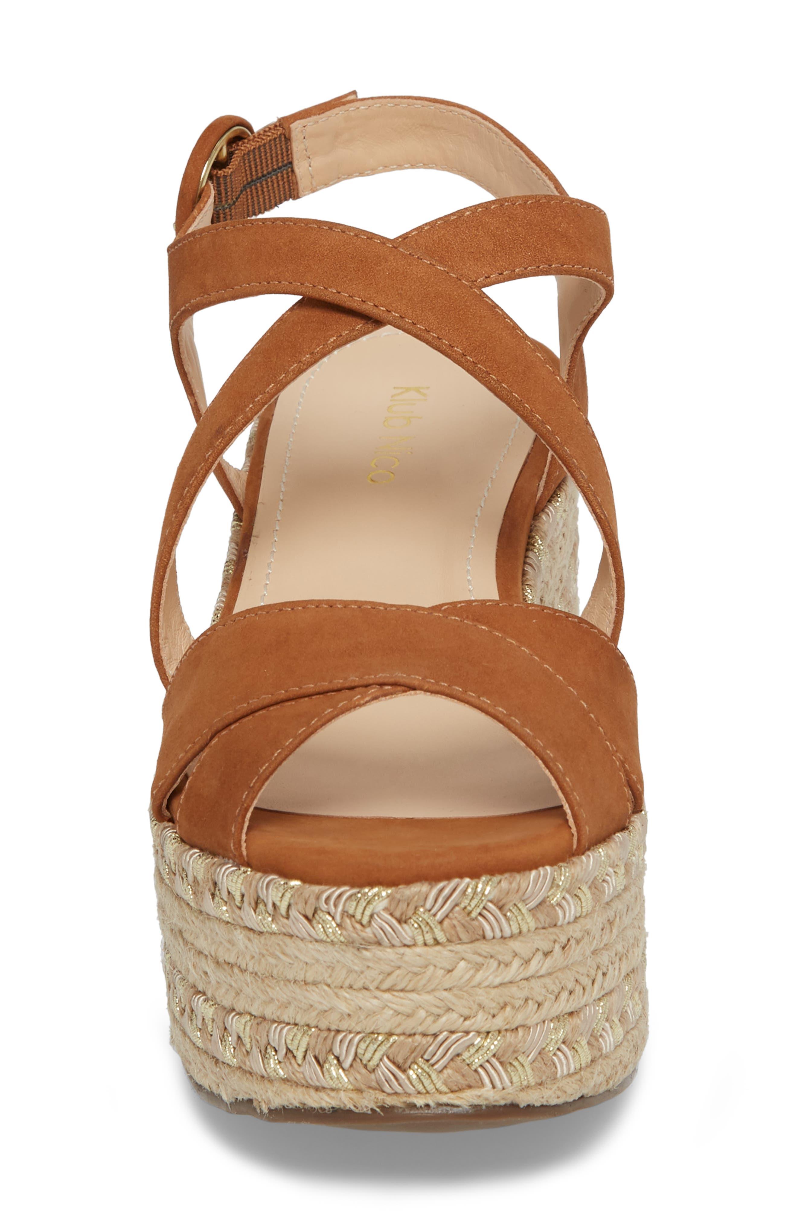 Vikki Espadrille Platform Sandal,                             Alternate thumbnail 4, color,                             Tan Leather