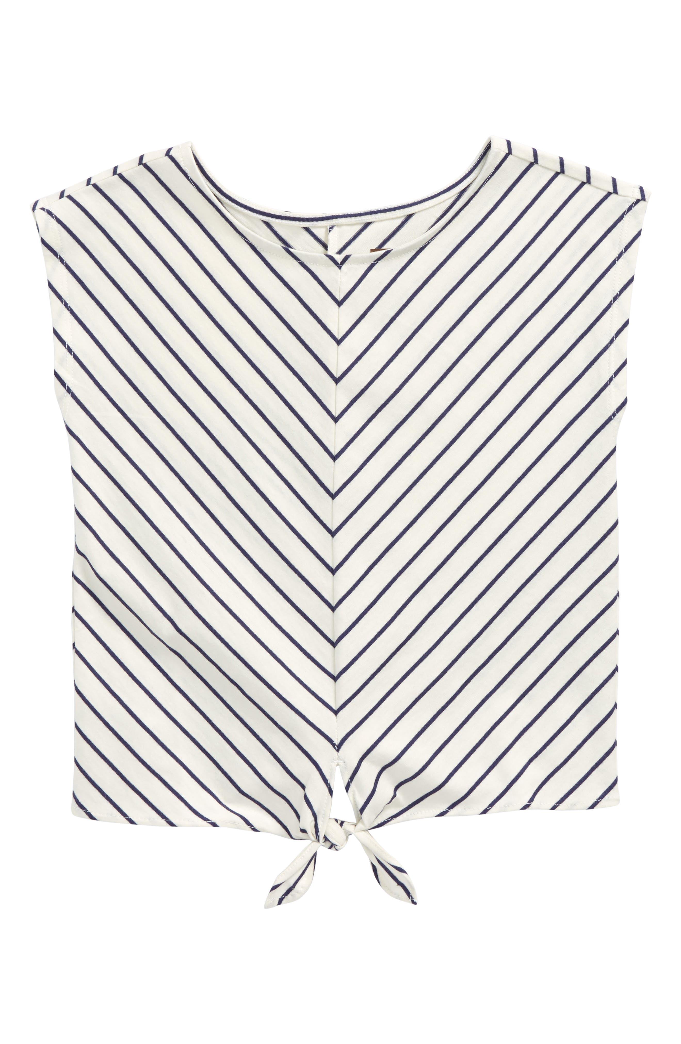 Stripe Tie Waist Tee,                             Main thumbnail 1, color,                             Twilight