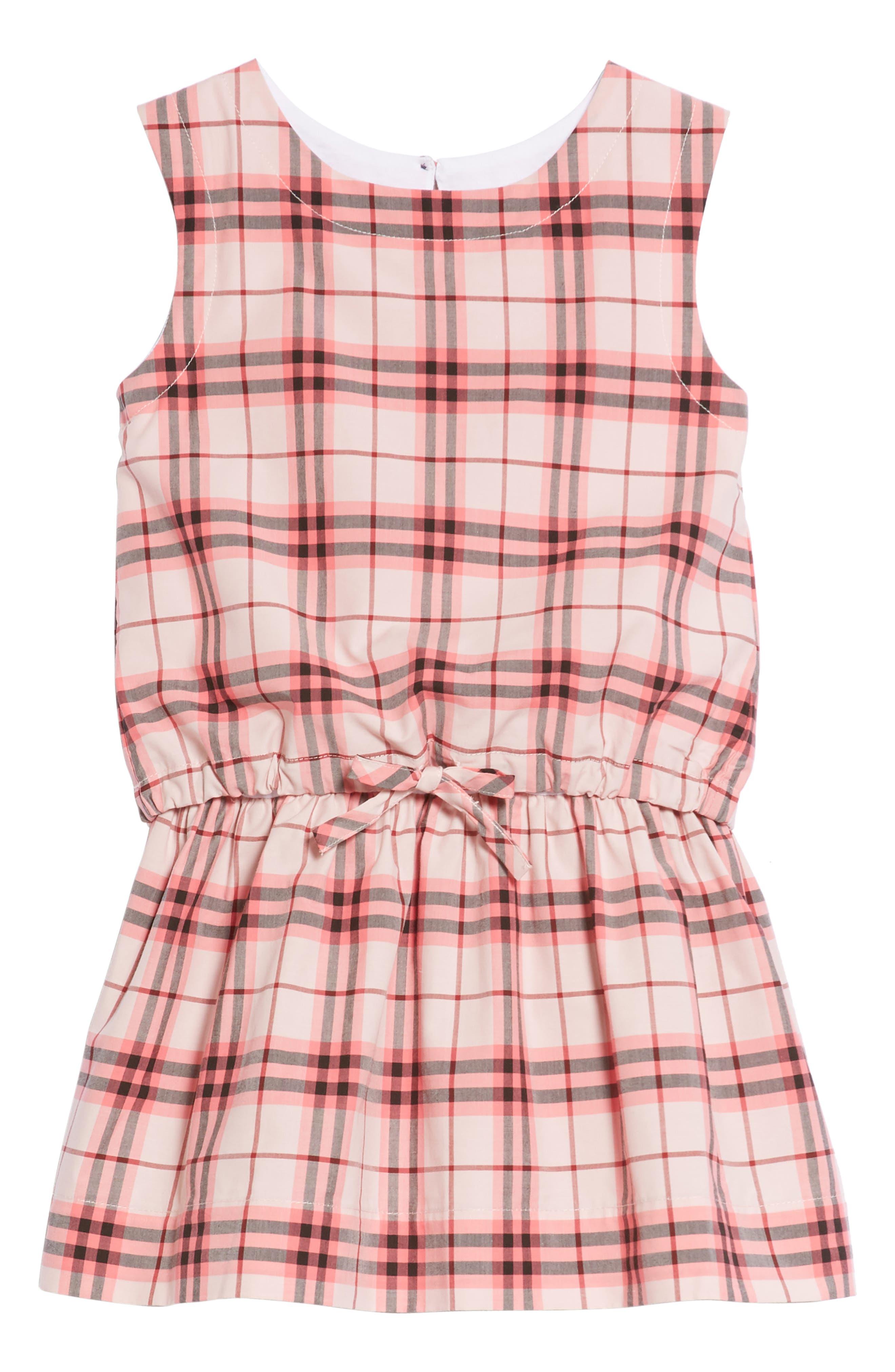 Mabel Check Dress,                             Main thumbnail 1, color,                             Bright Rose