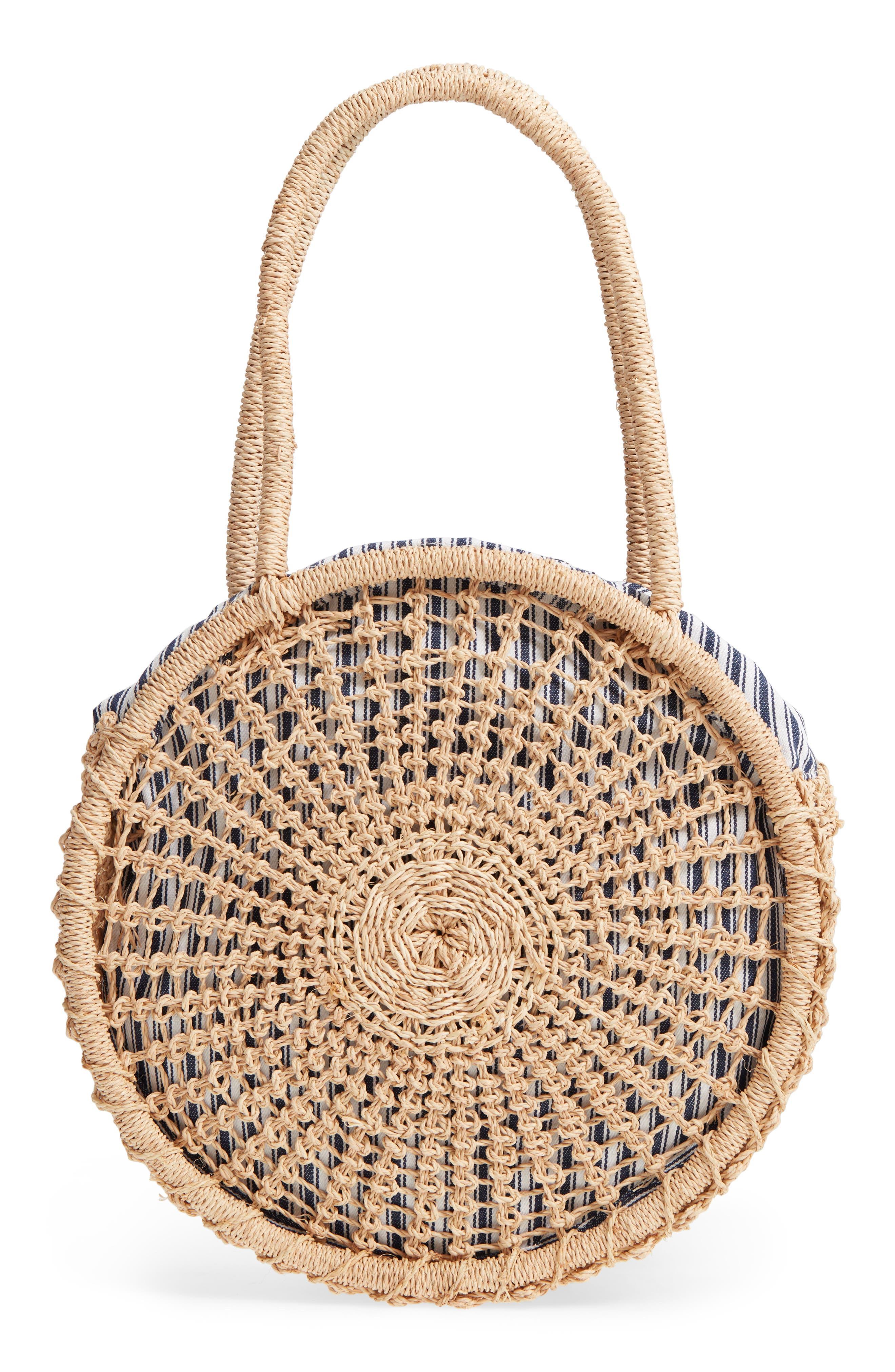 Woven Raffia Circle Bag,                         Main,                         color, Natural