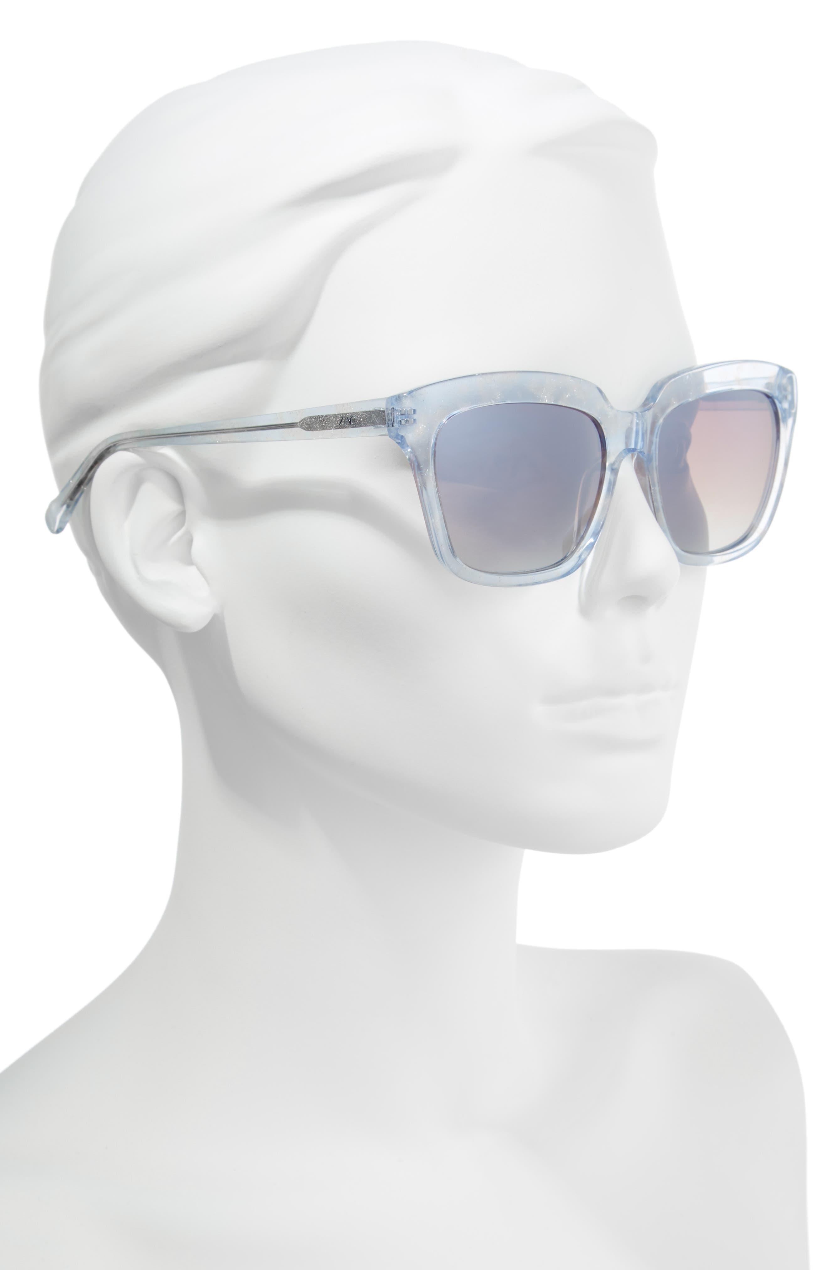 Adina 56mm Polarized Sunglasses,                             Alternate thumbnail 2, color,                             Blue Polar/ Greige