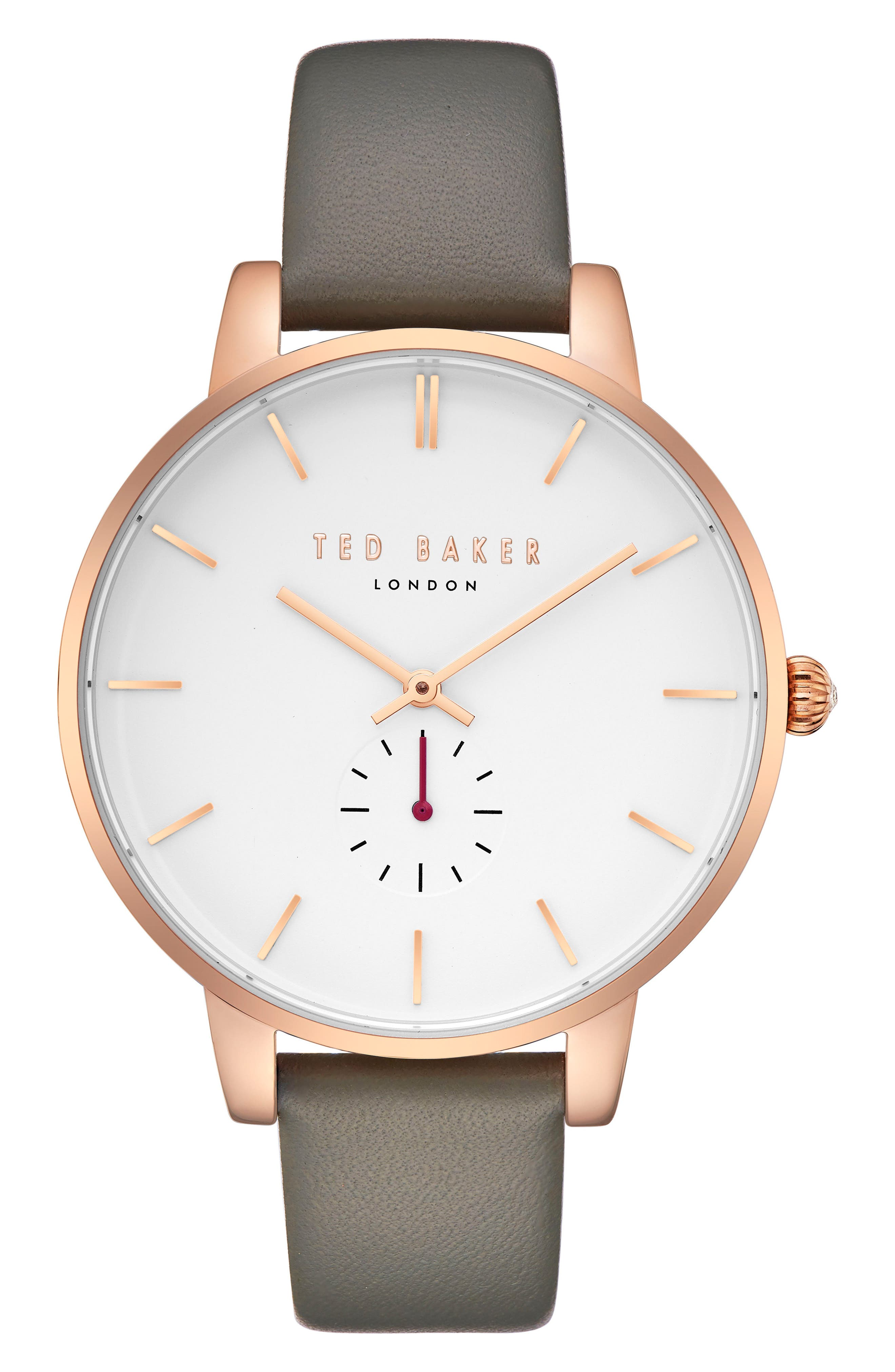 Olivia Leather Strap Watch,                         Main,                         color, Grey/ White/ Rose Gold