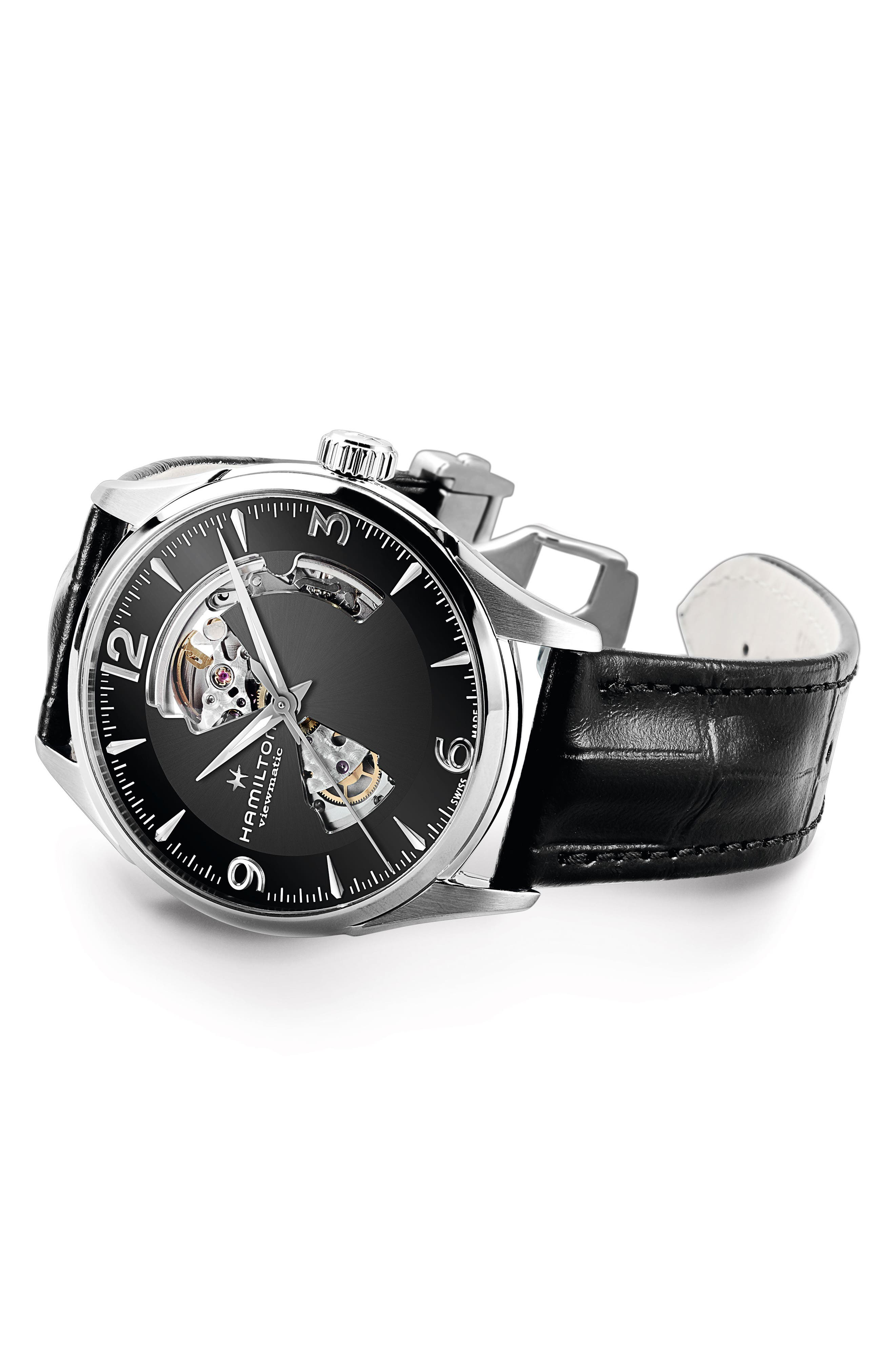 Jazzmaster Open Heart Automatic Leather Strap Watch, 42mm,                             Alternate thumbnail 2, color,                             Black/ Silver