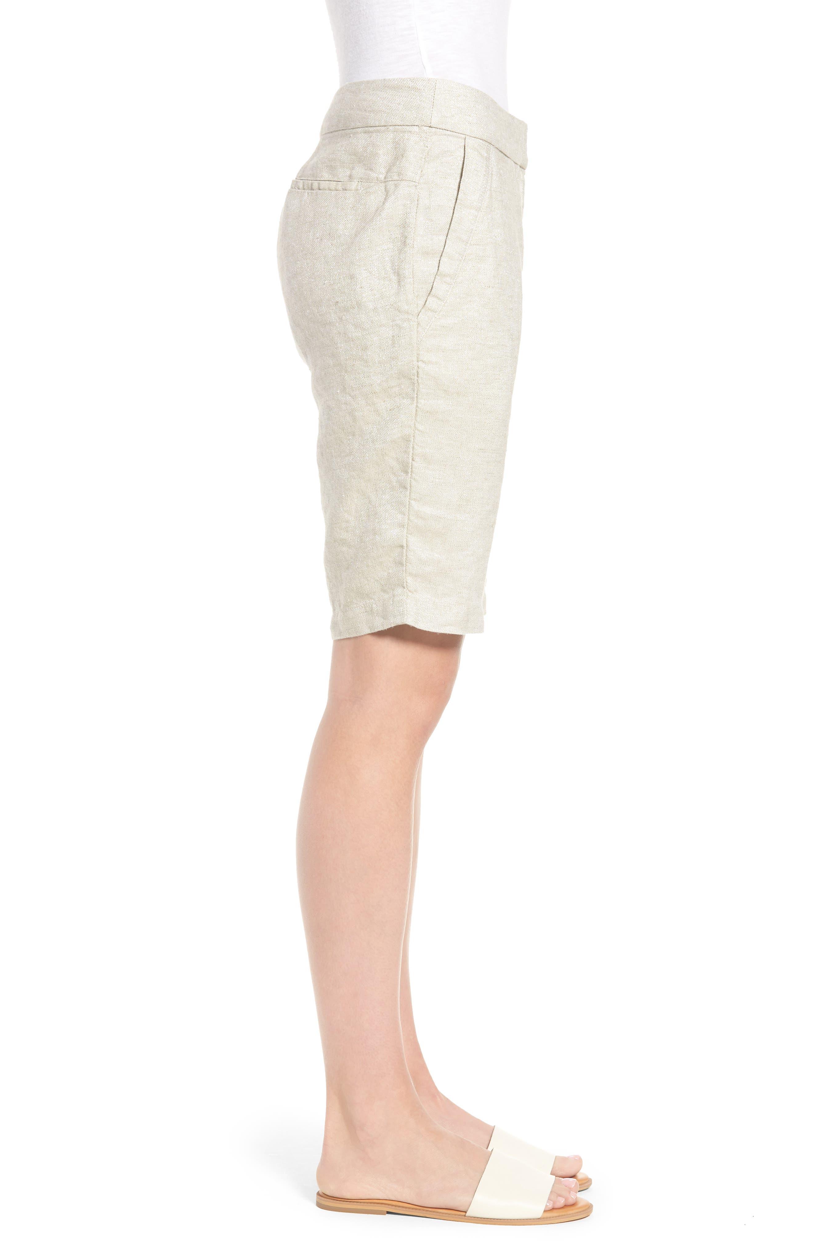 Organic Linen Blend Walking Shorts,                             Alternate thumbnail 3, color,                             Natural