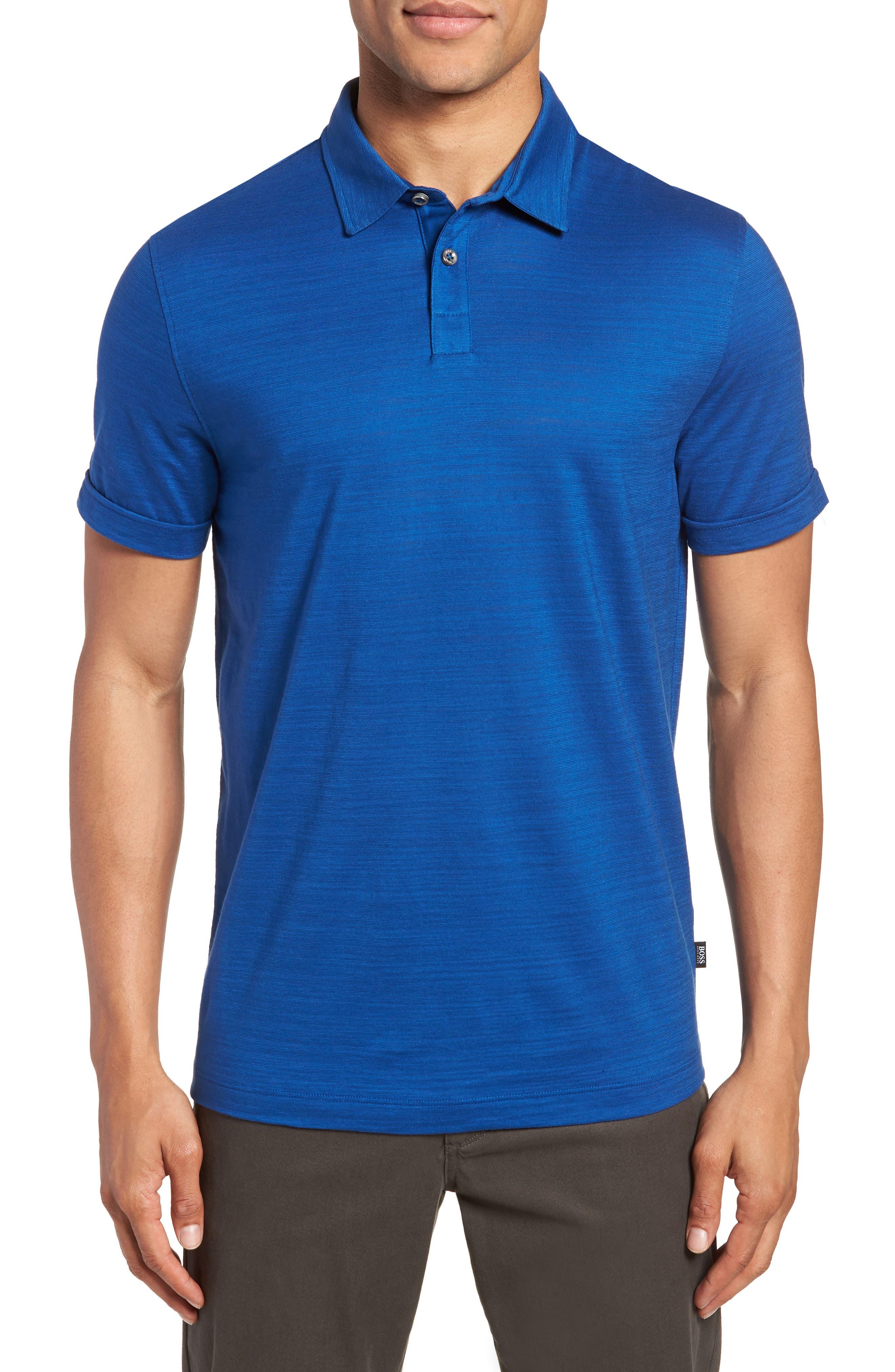 Press Flame Slim Fit Polo Shirt,                             Main thumbnail 1, color,                             Blue