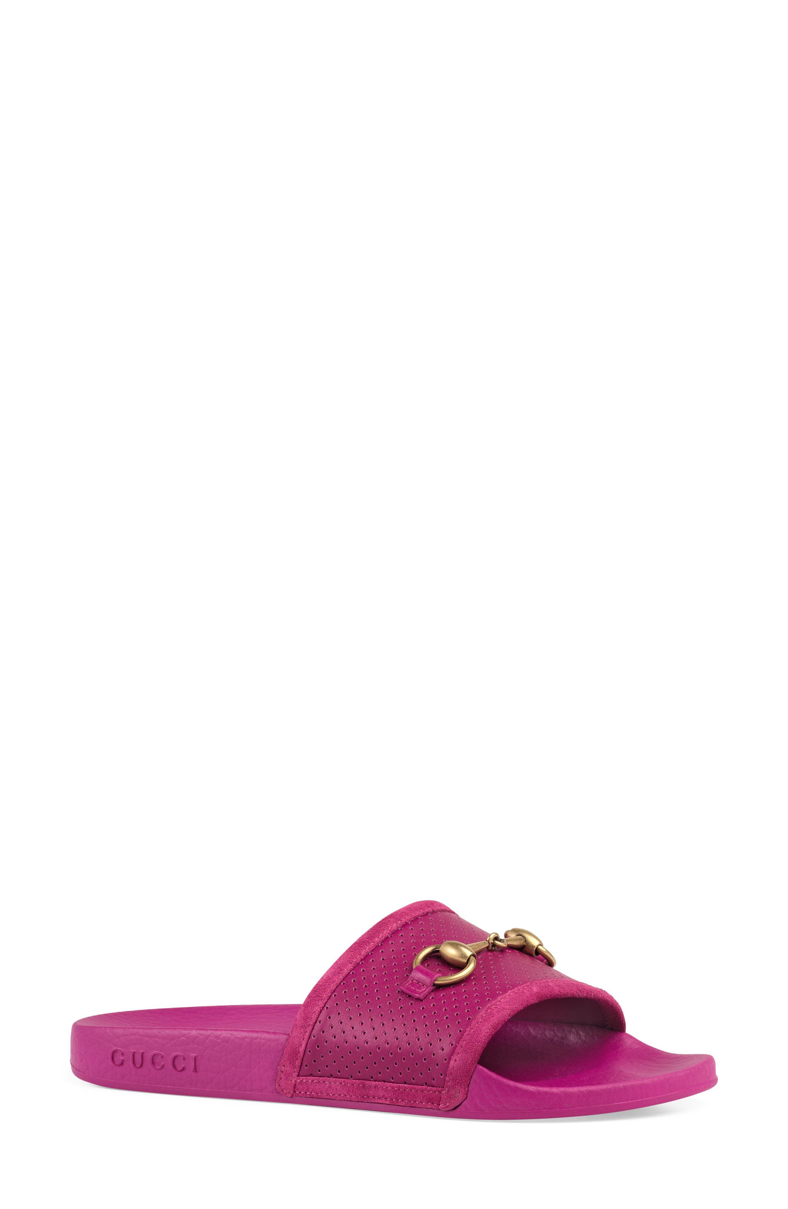 Horsebit Slide Sandal,                             Main thumbnail 1, color,                             Dark Pink