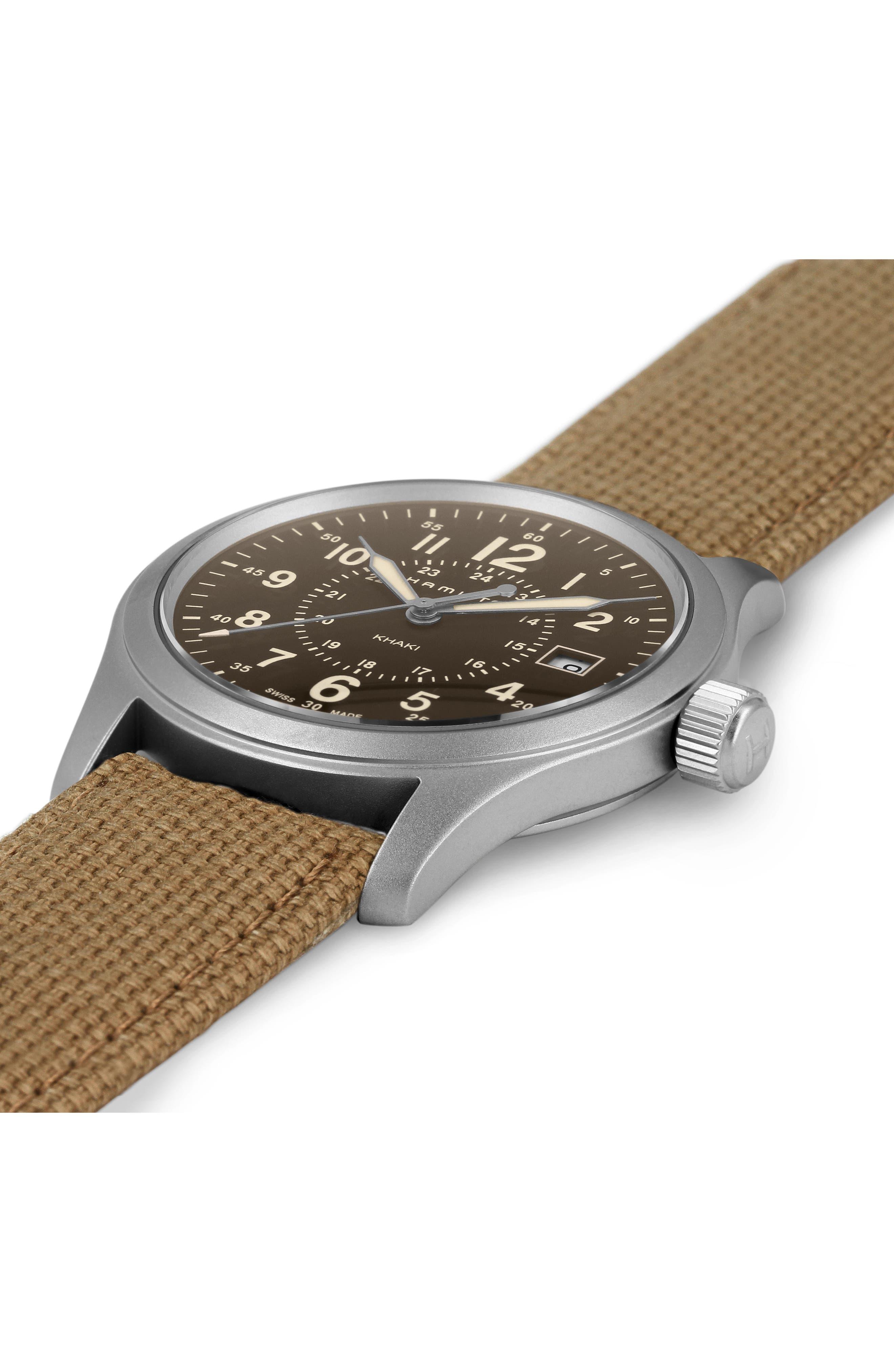 Khaki Field Canvas Strap Watch, 38mm,                             Alternate thumbnail 2, color,                             Beige/ Brown/ Silver