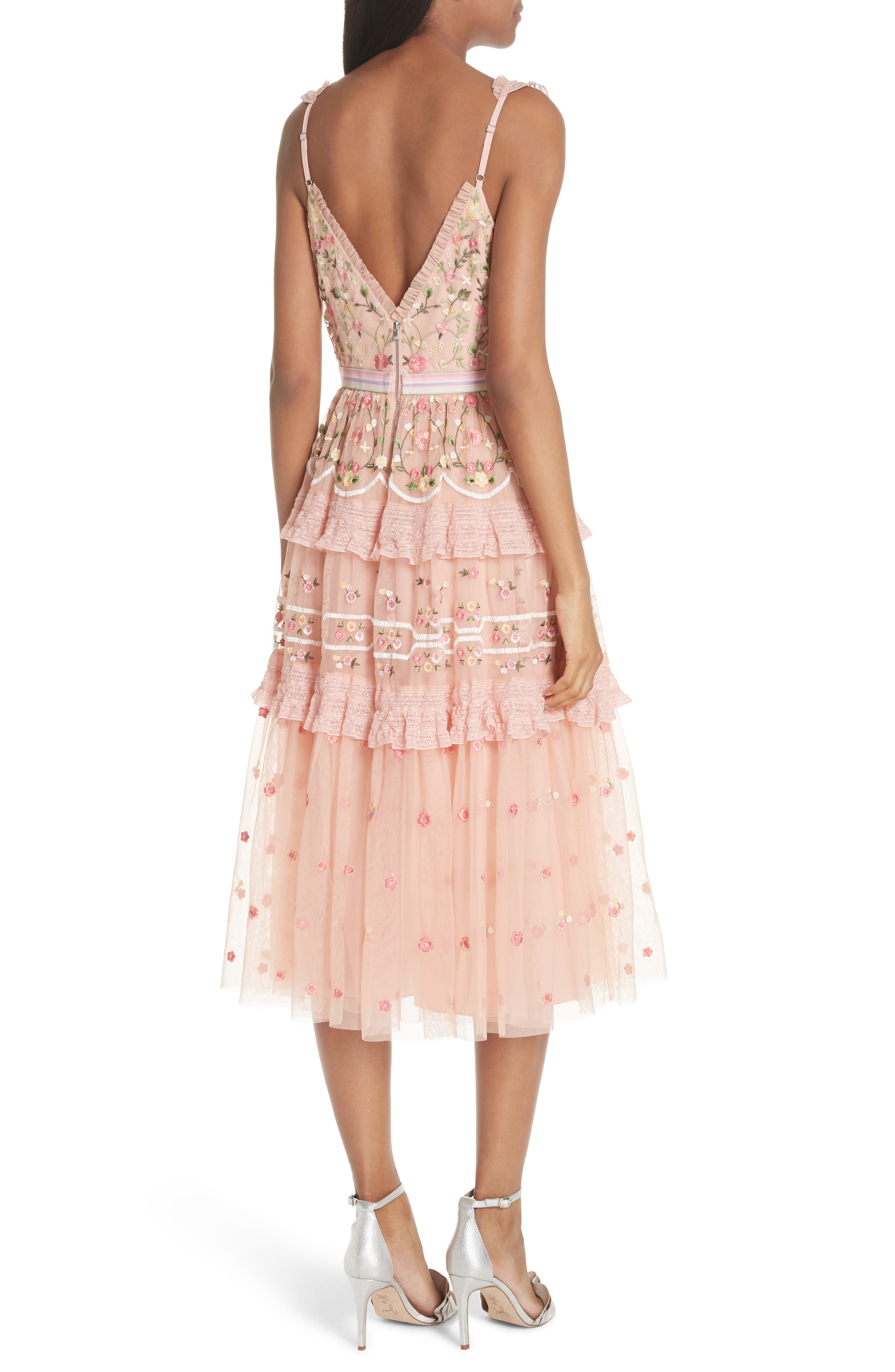 Lattice Rose Tiered Midi Dress,                             Alternate thumbnail 2, color,                             Coral