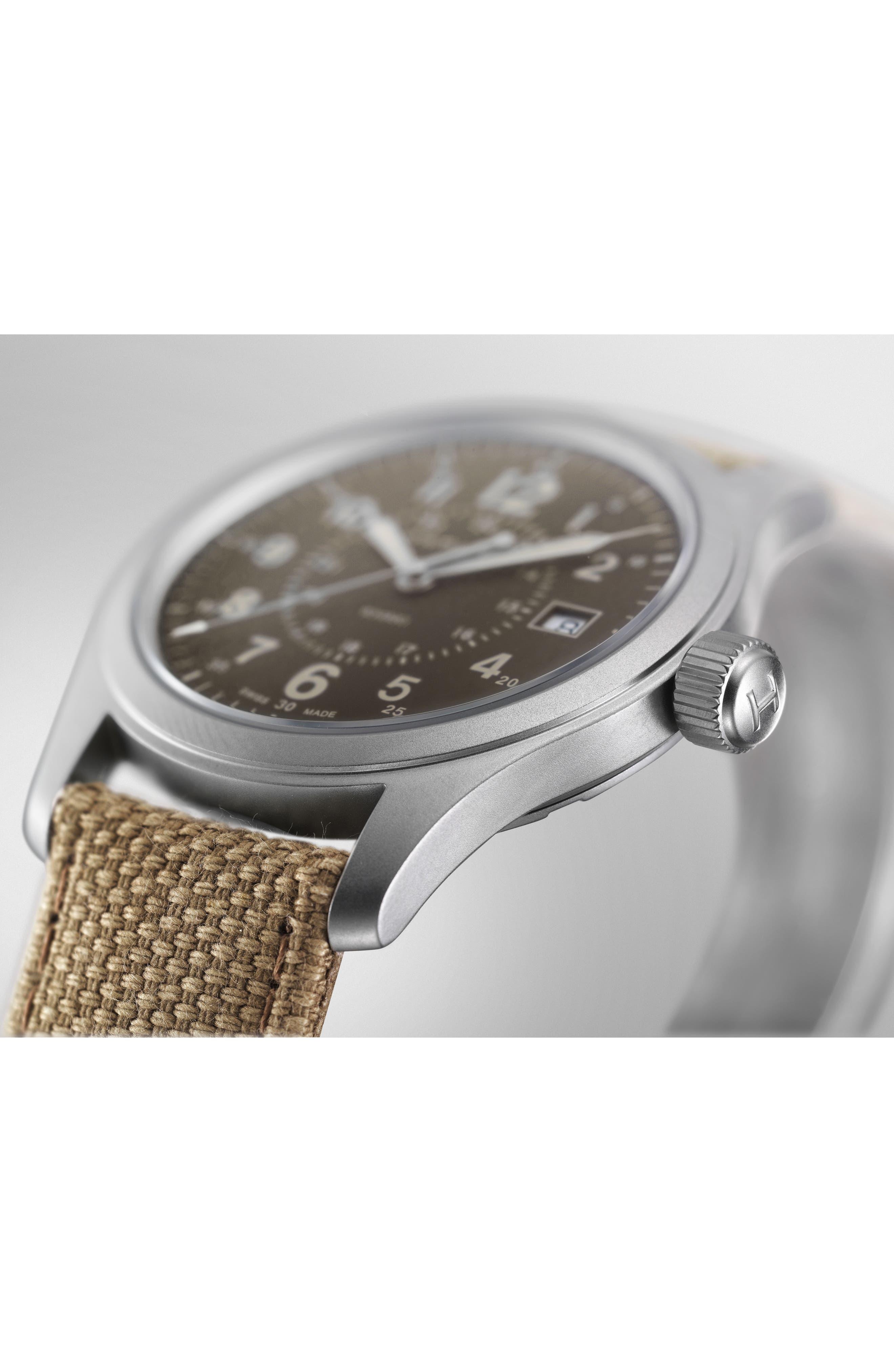 Khaki Field Canvas Strap Watch, 38mm,                             Alternate thumbnail 3, color,                             Beige/ Brown/ Silver