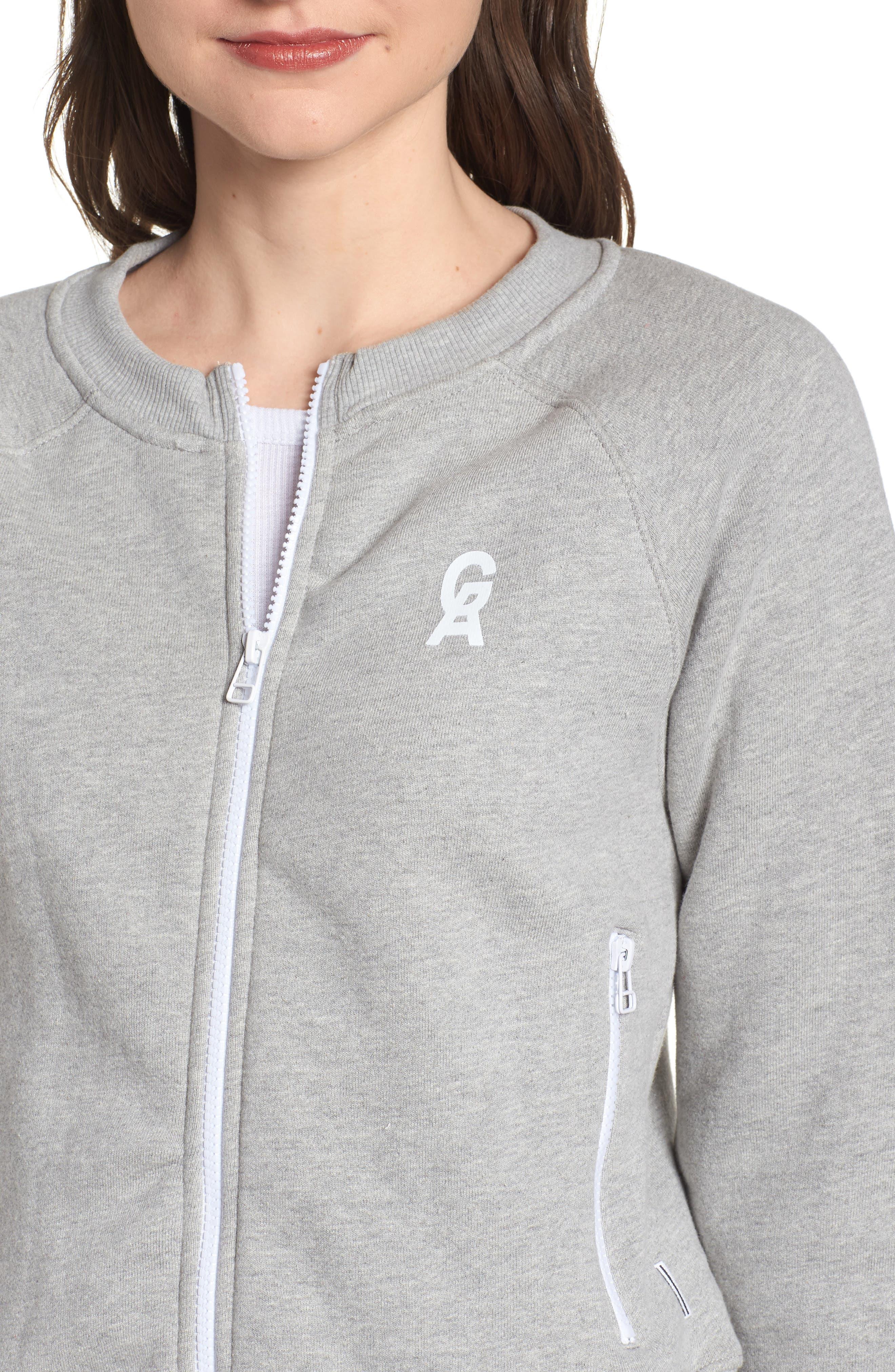 Crop Zip Sweatshirt,                             Alternate thumbnail 4, color,                             Heather Grey