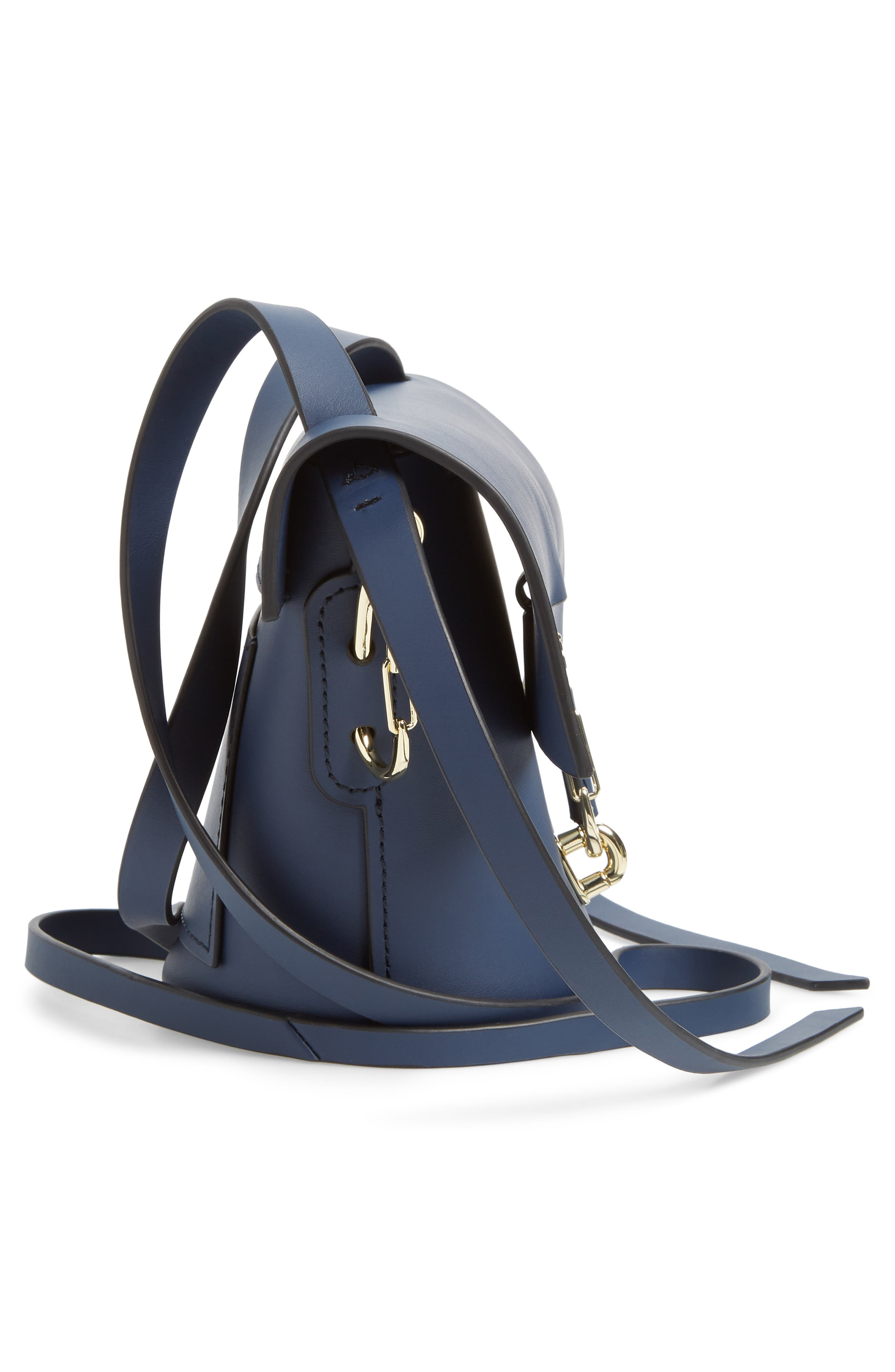 Mini Belay Calfskin Suede Crossbody Bucket Bag,                             Alternate thumbnail 3, color,                             Blue
