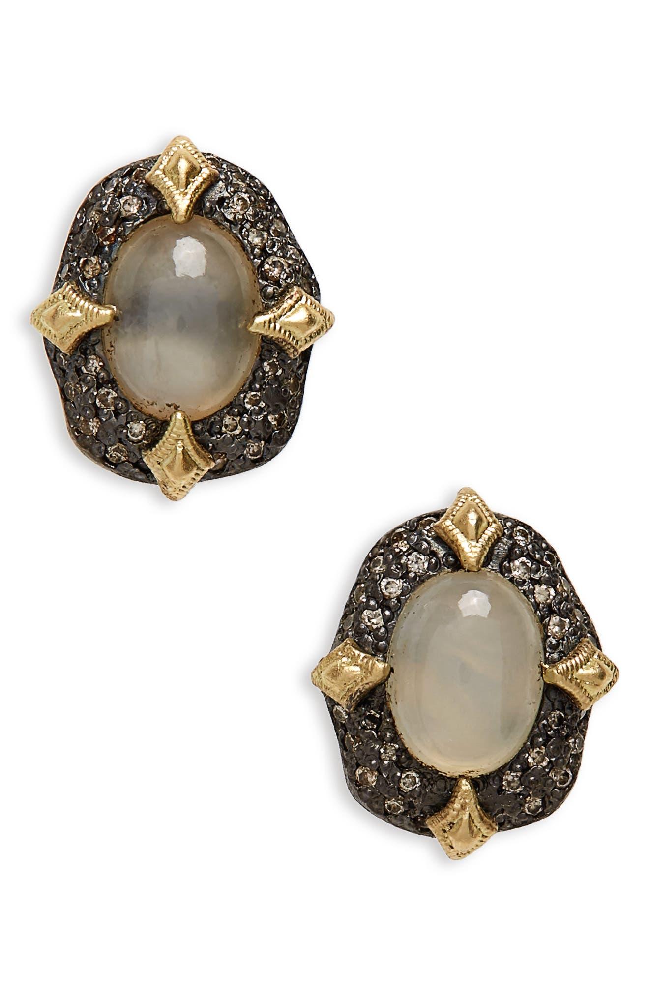 Old World Petal Stud Earrings,                             Main thumbnail 1, color,                             Blackened Silver/ Opal