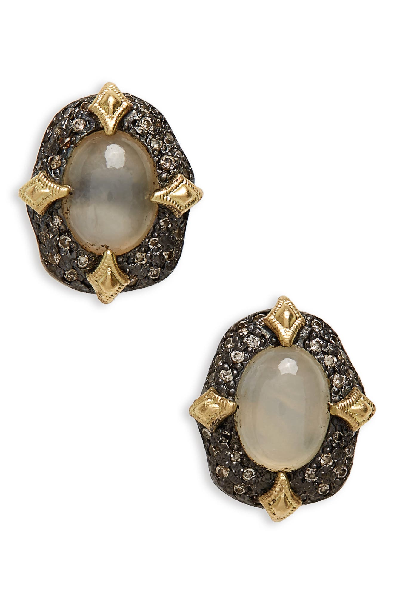 Old World Petal Stud Earrings,                         Main,                         color, Blackened Silver/ Opal