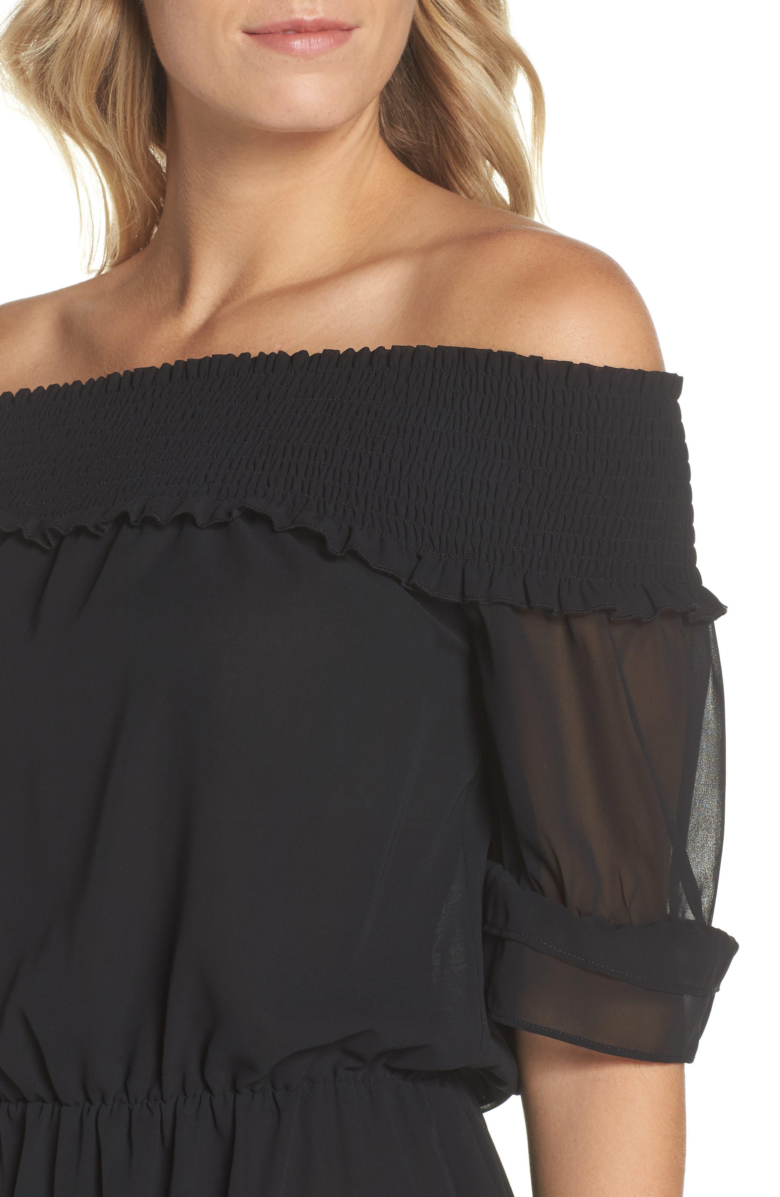 Off The Shoulder Ruffle Hem Dress,                             Alternate thumbnail 4, color,                             Black
