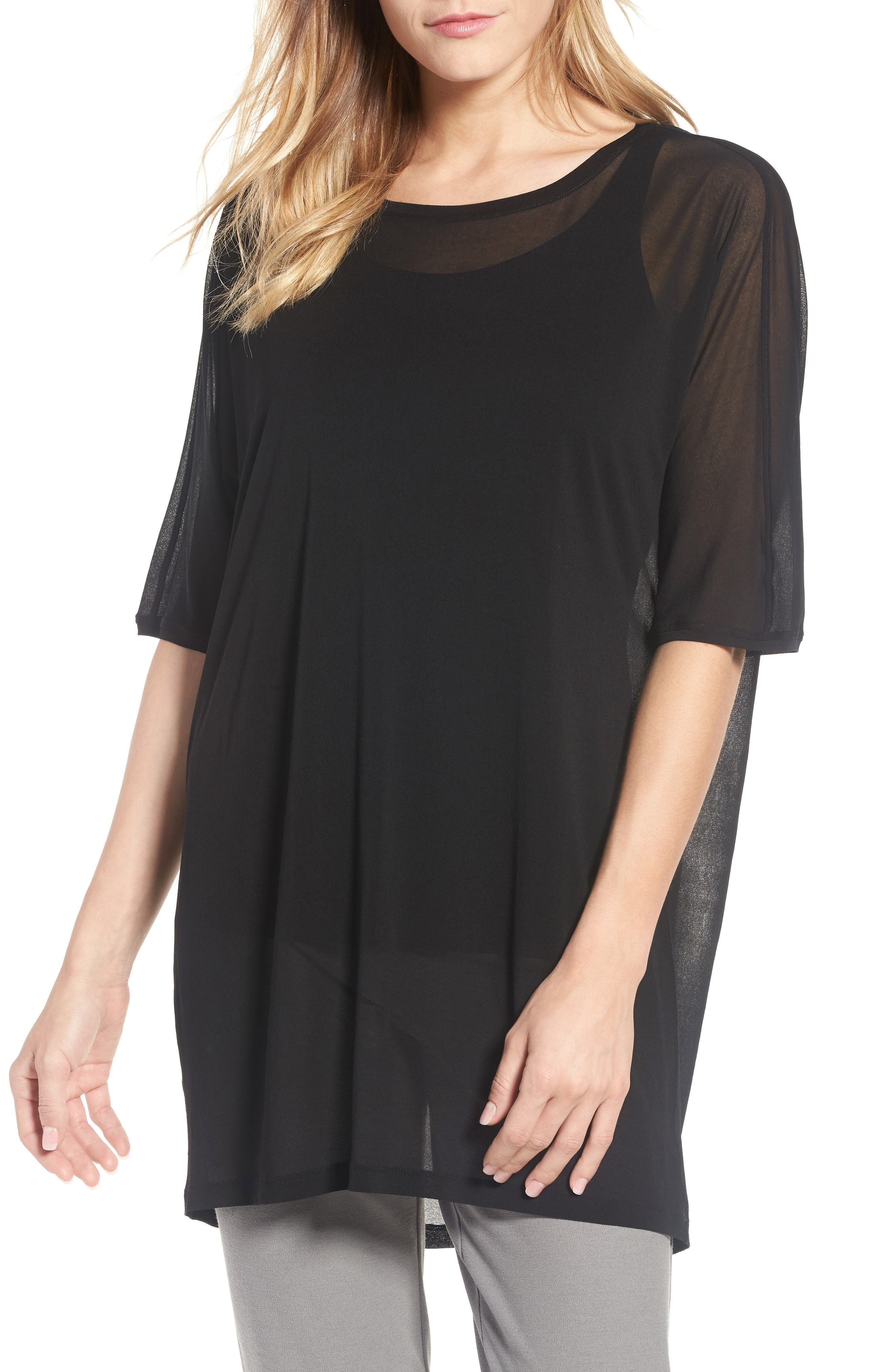 Silk Knit Top,                         Main,                         color, Black