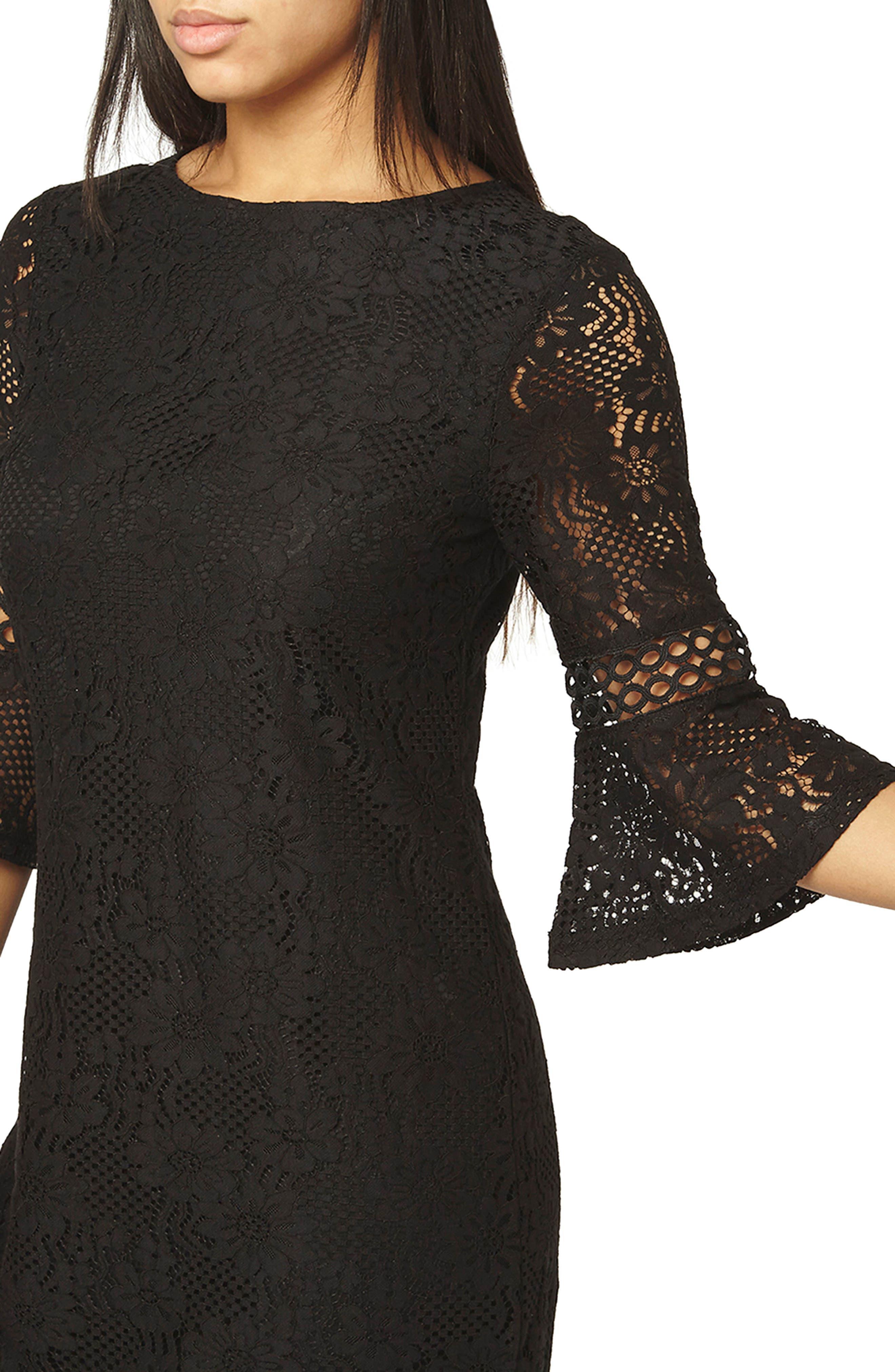 Alternate Image 4  - Dorothy Perkins Lace Flare Cuff Shift Dress