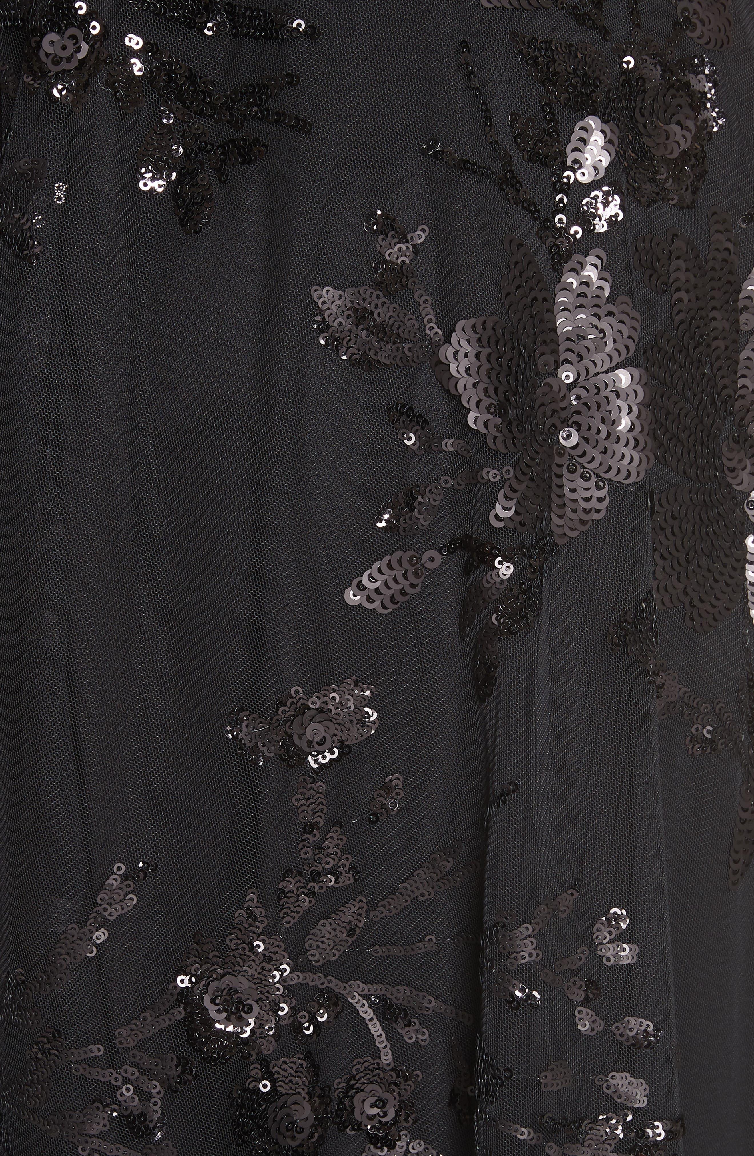 Carmen Marc Valvo Off the Shoulder Gown,                             Alternate thumbnail 6, color,                             Black/ Black