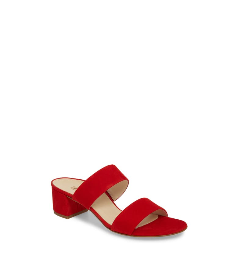 Meg Slide Sandal,                         Main,                         color, Red Suede