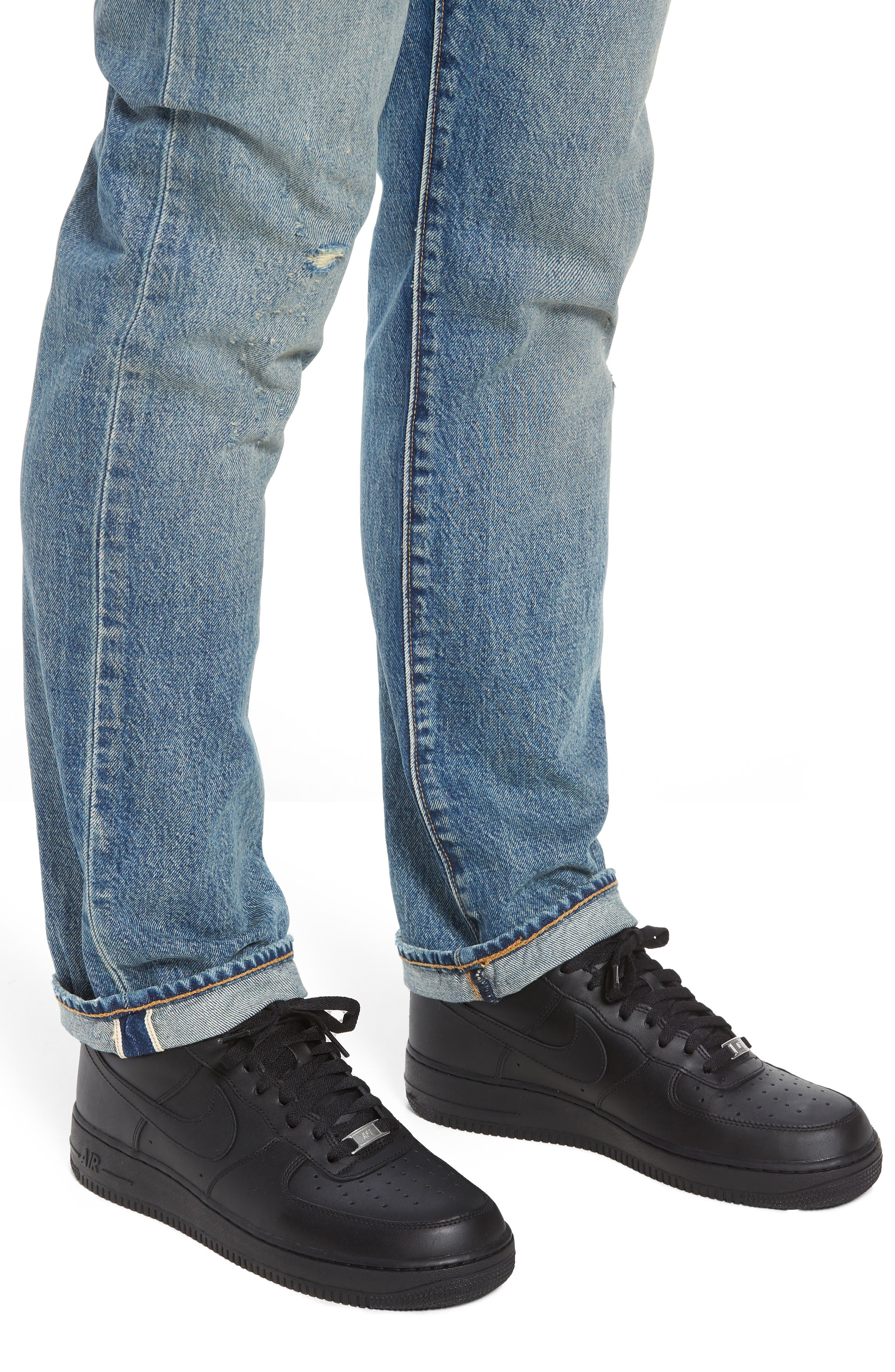 501<sup>®</sup> Original Straight Leg Jeans,                             Alternate thumbnail 4, color,                             Redwood Ave Selvedge