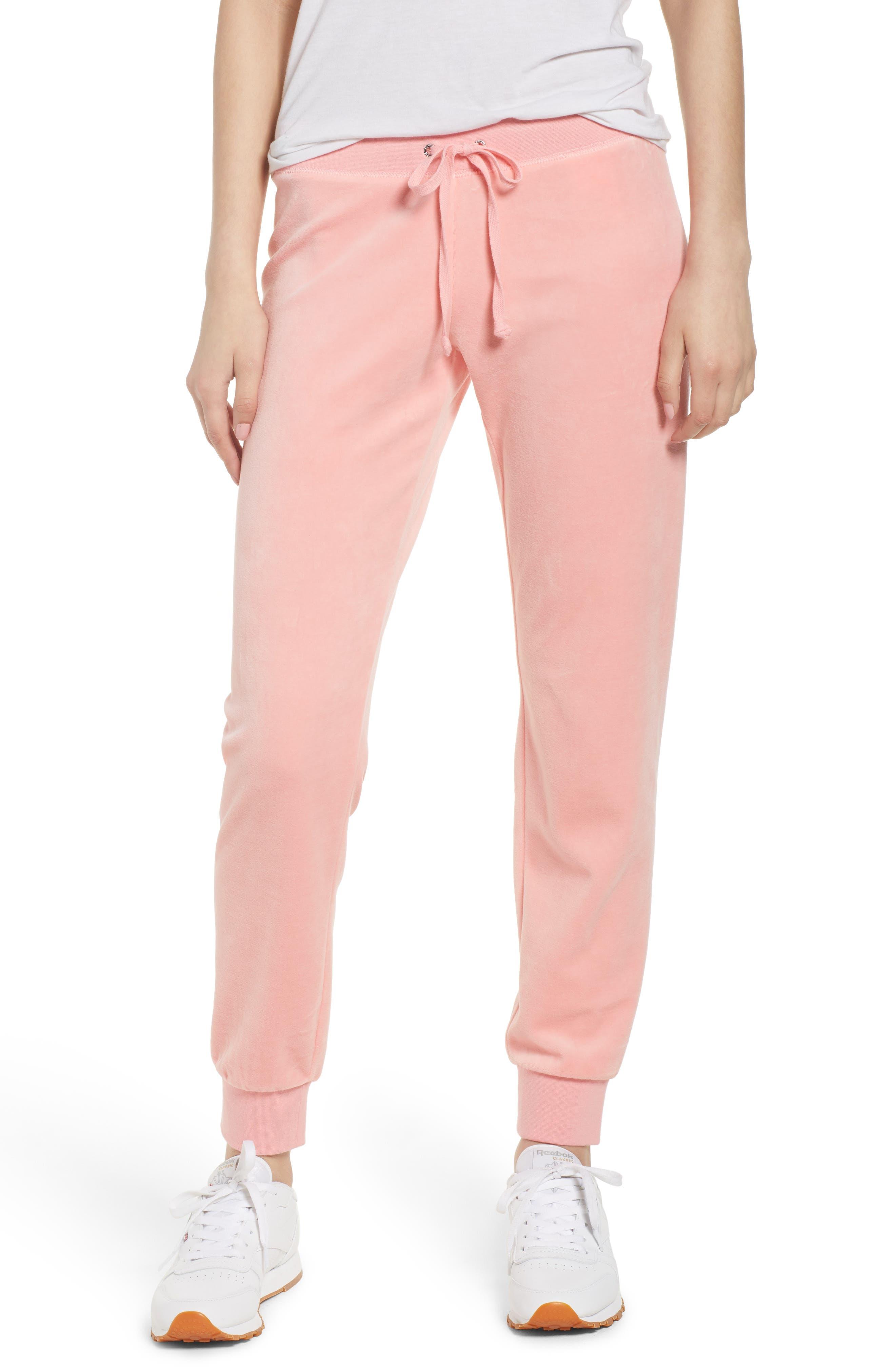 Zuma Velour Track Pants,                         Main,                         color, Sorbet Pink