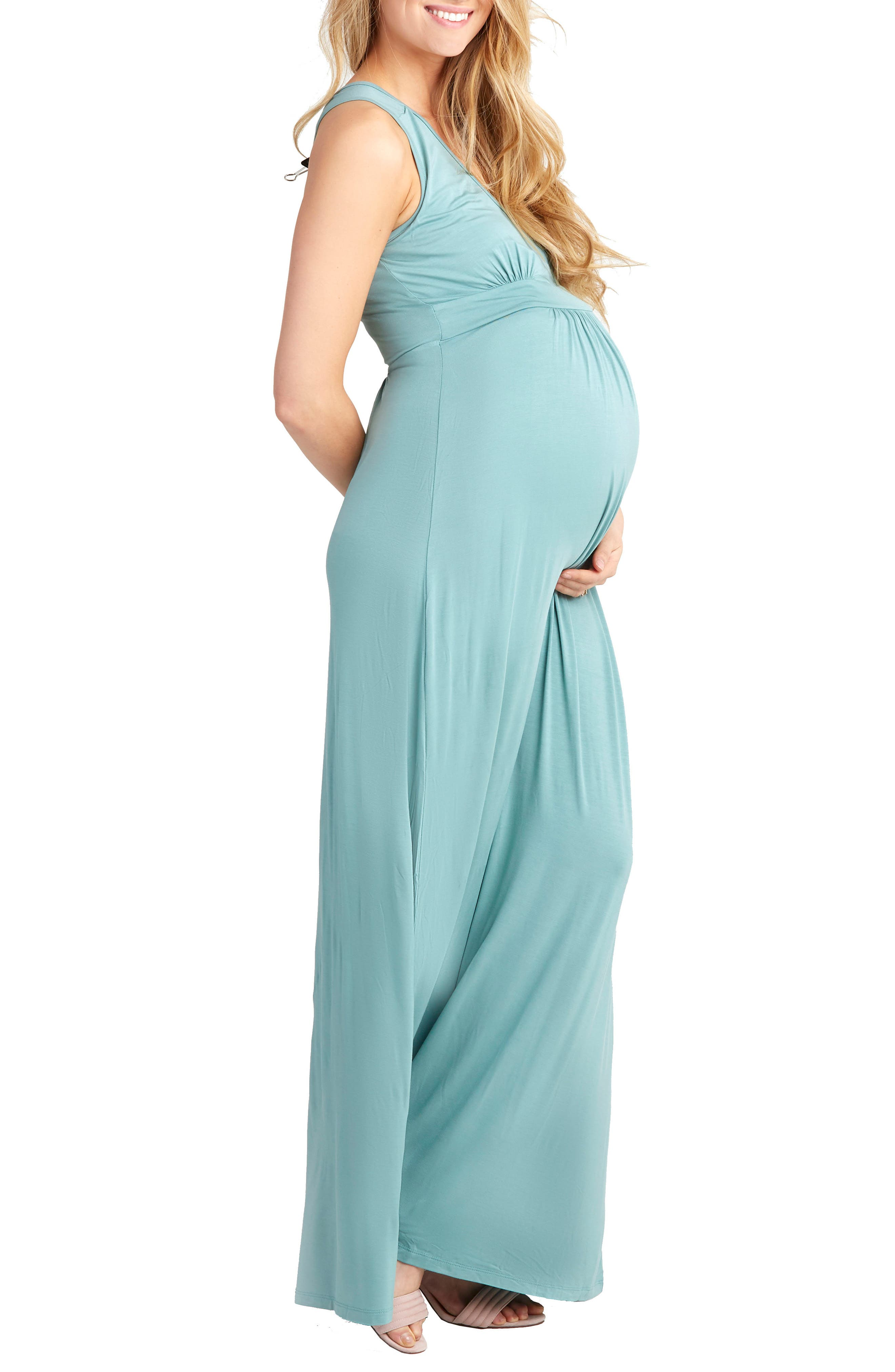 Hollis Maternity/Nursing Maxi Dress,                             Alternate thumbnail 3, color,                             Sea