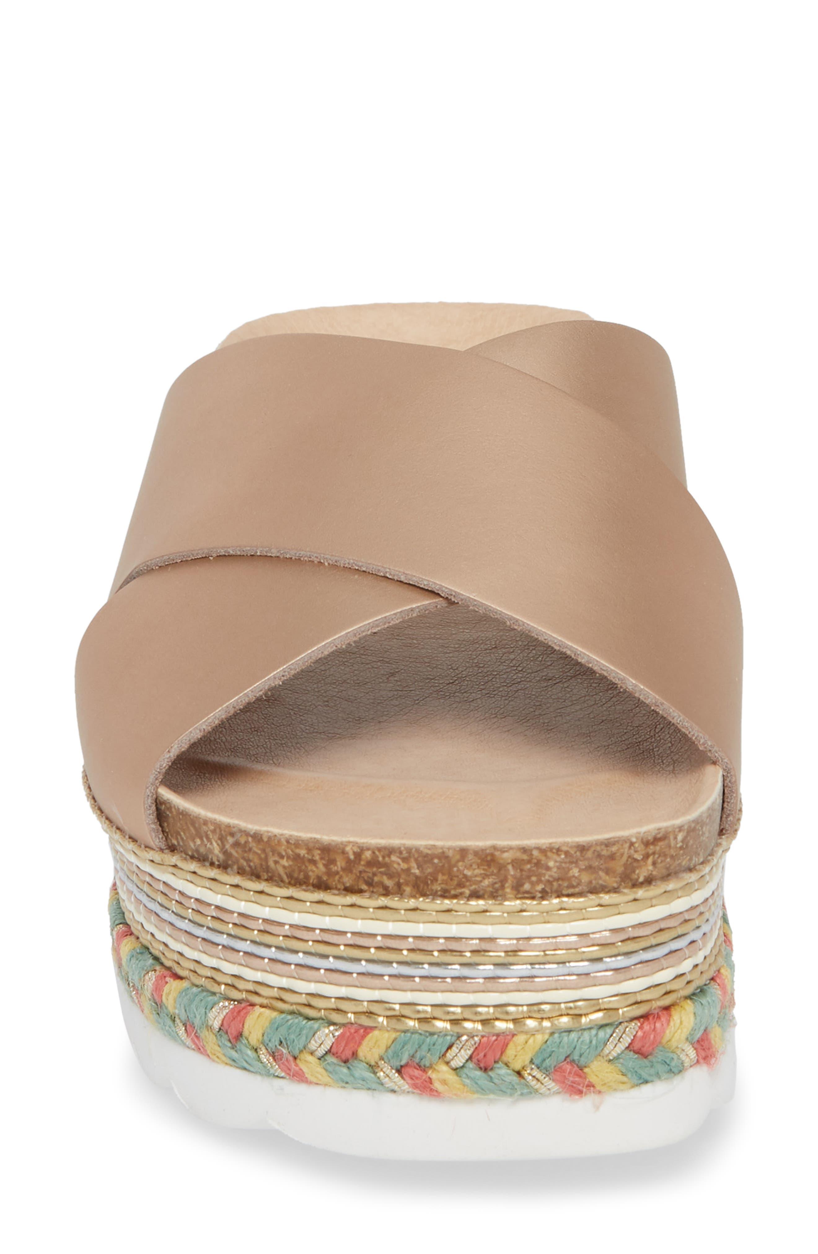 Torri Platform Slide Sandal,                             Alternate thumbnail 4, color,                             Rose Gold Leather