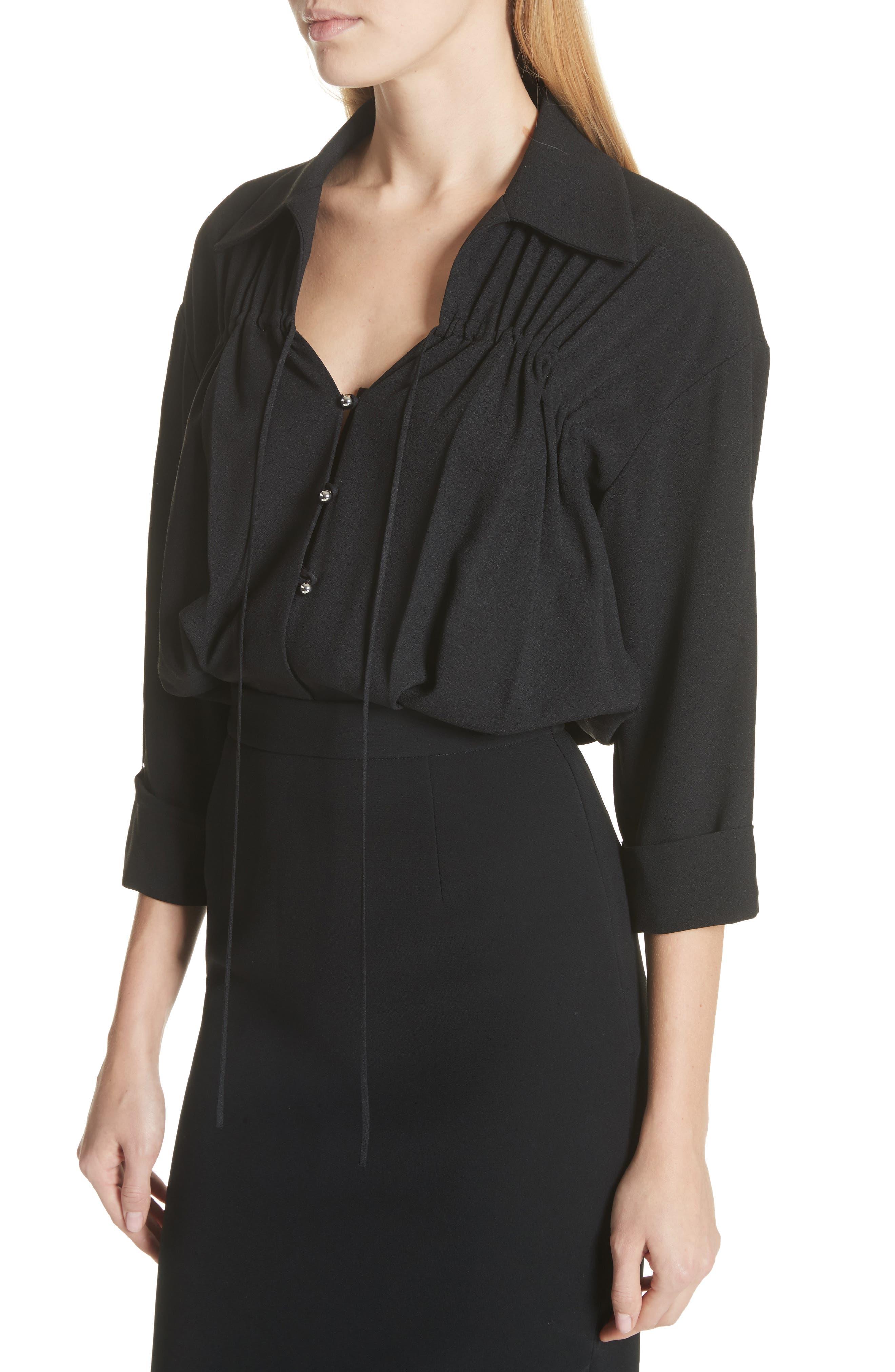 Ruched Blouson Dress,                             Alternate thumbnail 4, color,                             Black
