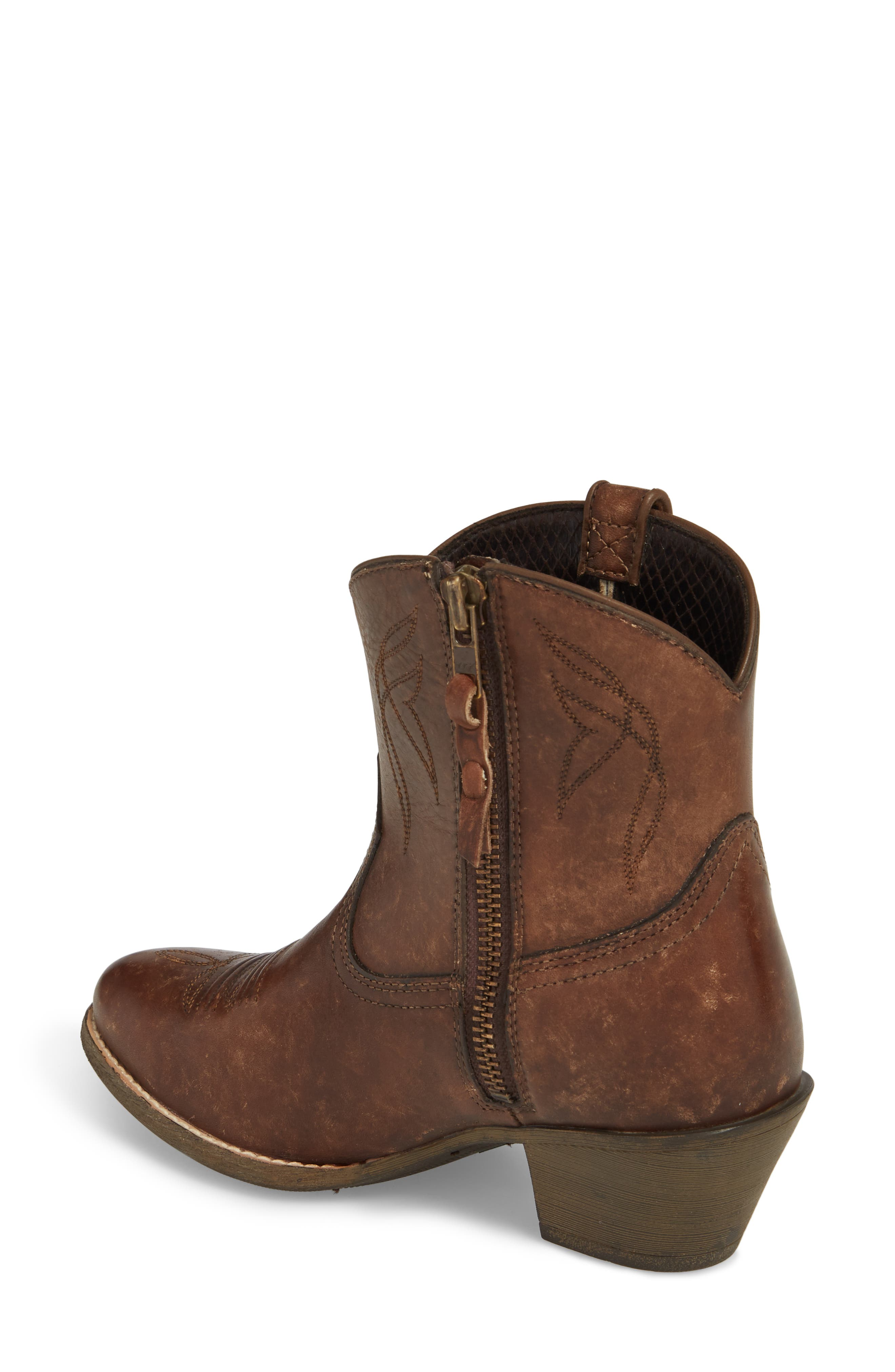 Darlin Short Western Boot,                             Alternate thumbnail 2, color,                             Distressed Brown Leather