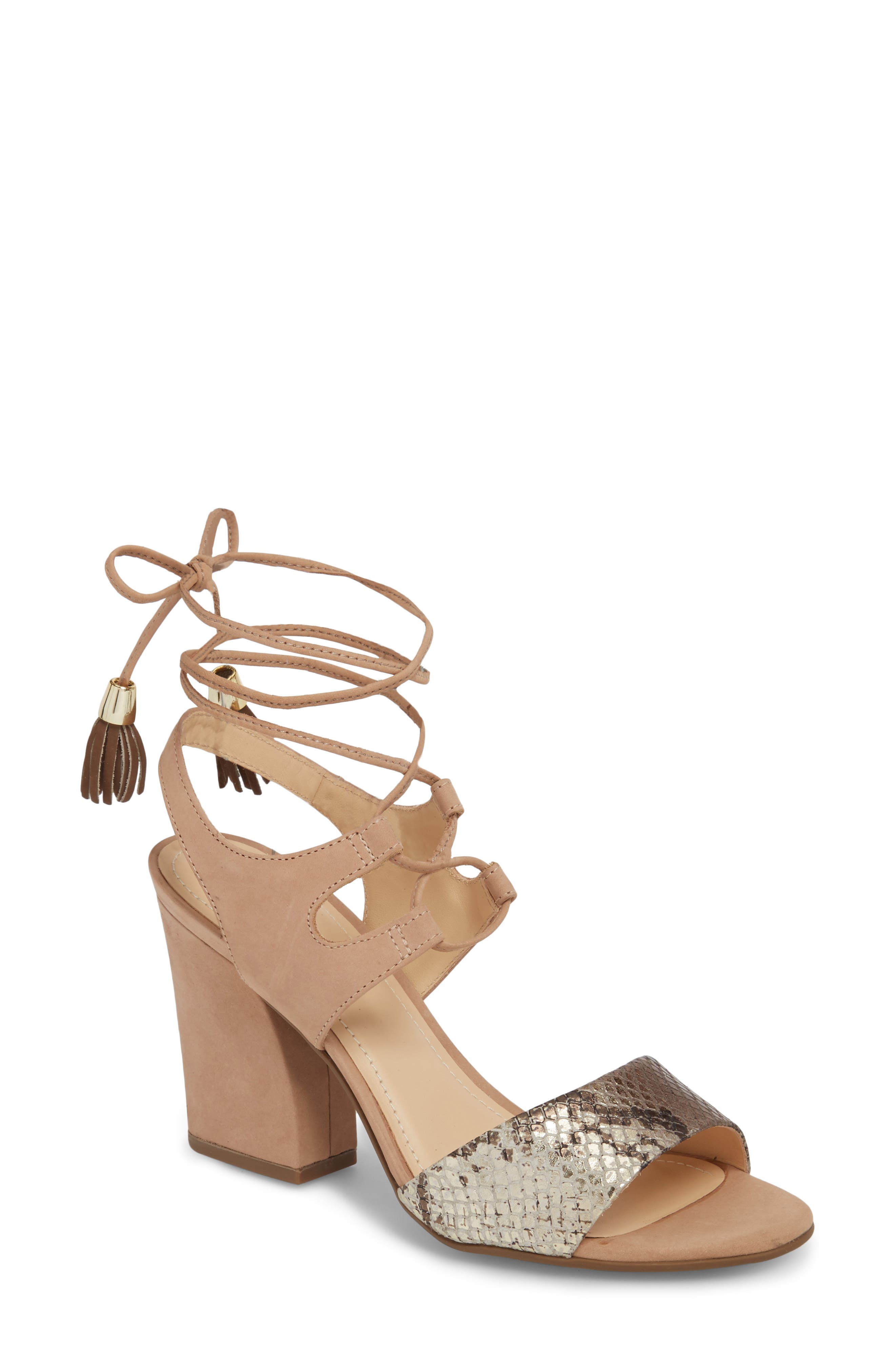 Kaira Ankle Wrap Sandal,                         Main,                         color, Snake Print Leather