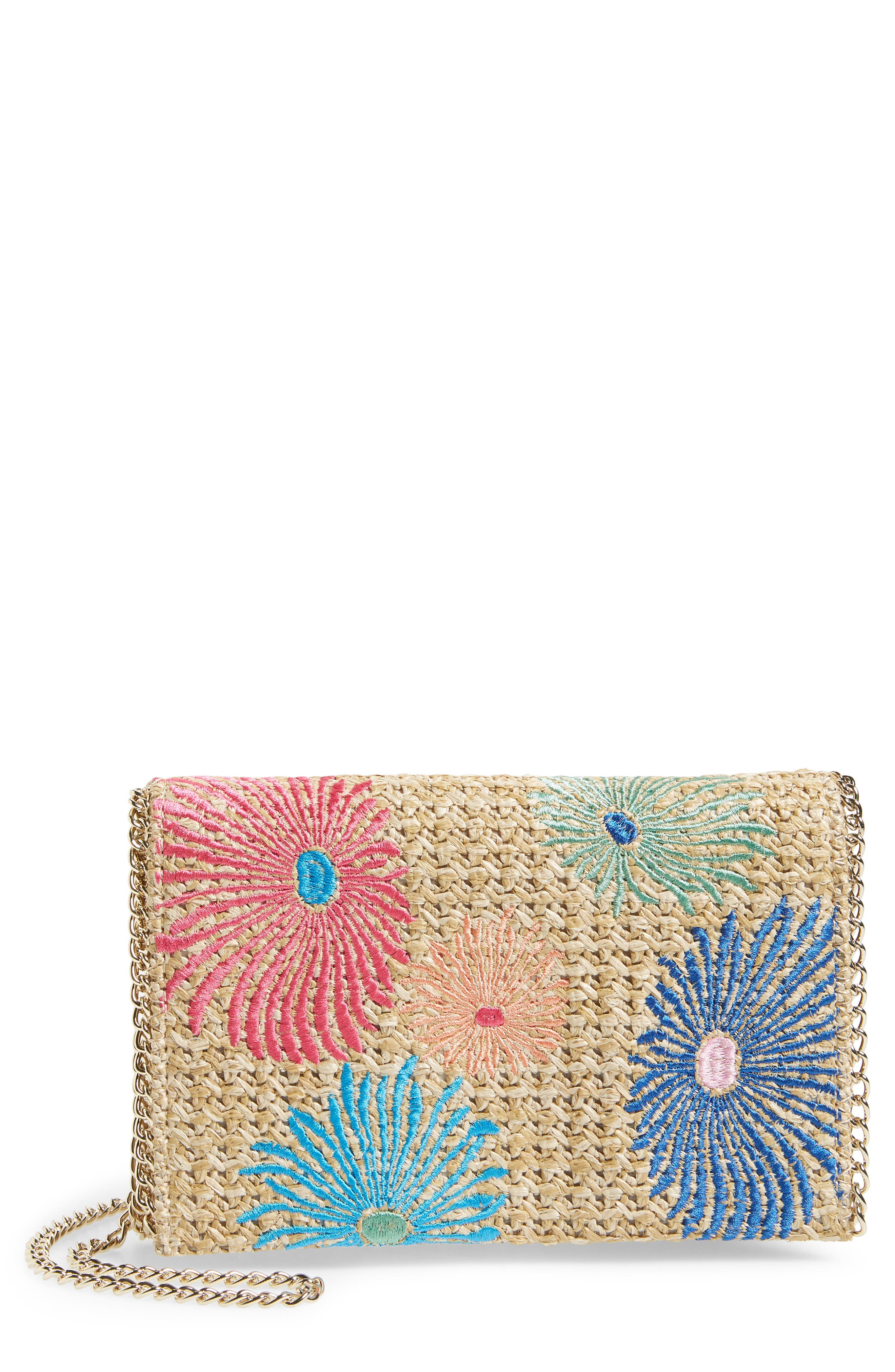 Chelsea28 Embroidered Woven Straw Clutch